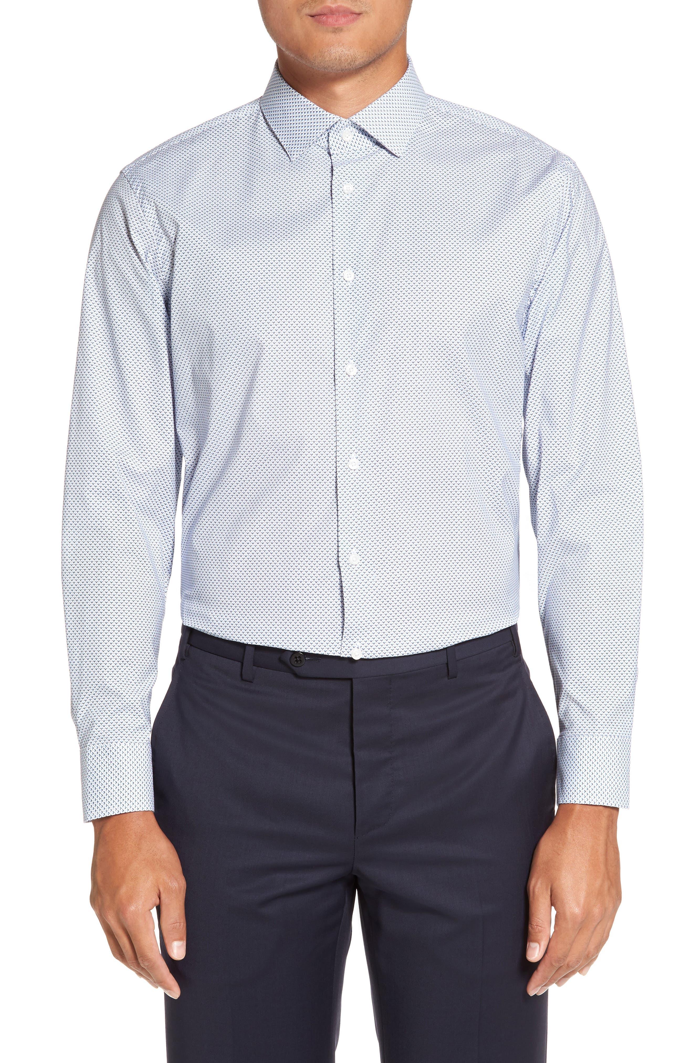 CALIBRATE,                             Trim Fit Stretch Geometric Dress Shirt,                             Main thumbnail 1, color,                             420