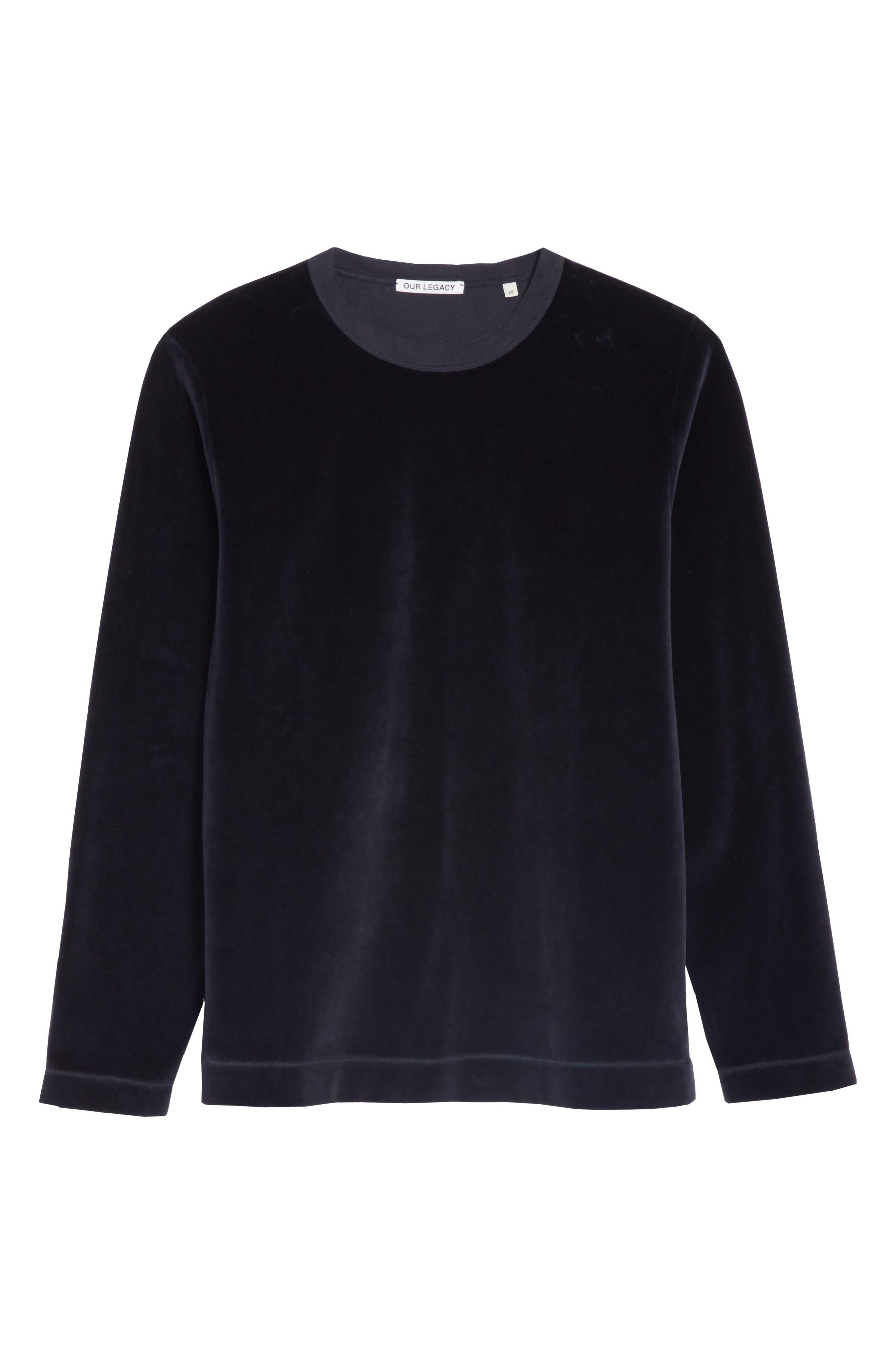 Velour Long Sleeve T-Shirt,                             Alternate thumbnail 6, color,                             NAVY VELOUR