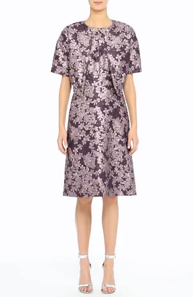 Metallic Floral Jacquard Dress, video thumbnail