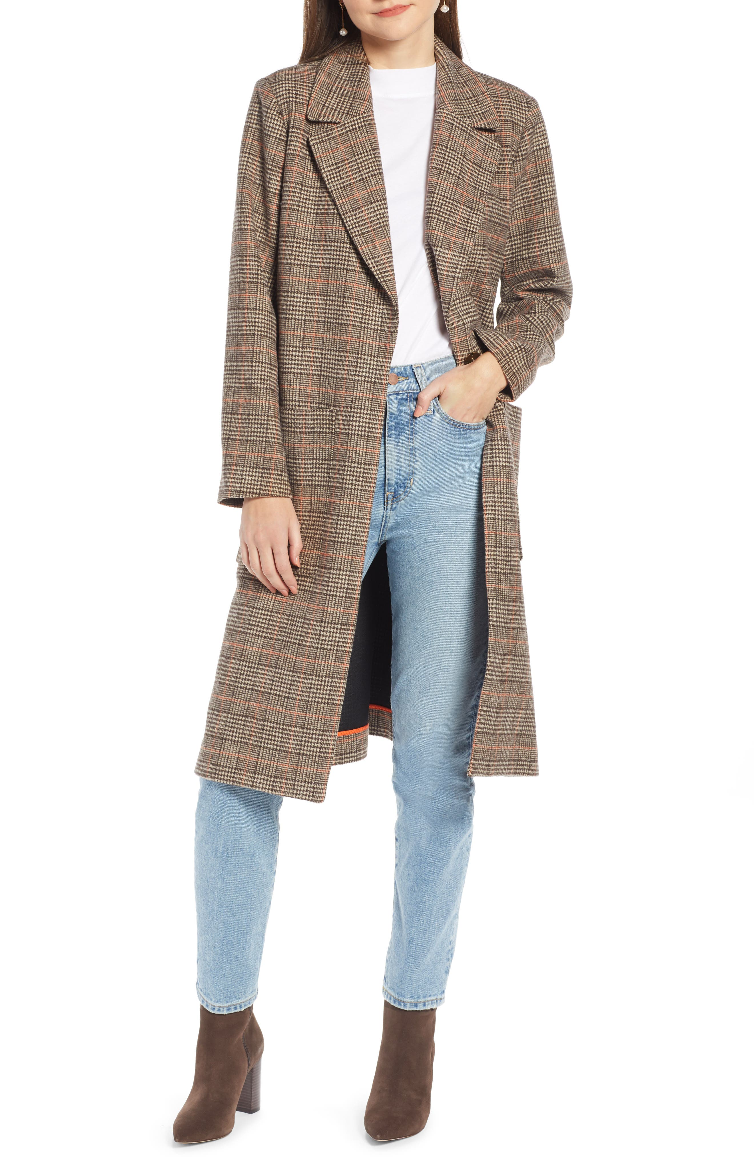 SOMETHING NAVY Patch Pocket Plaid Coat, Main, color, 210