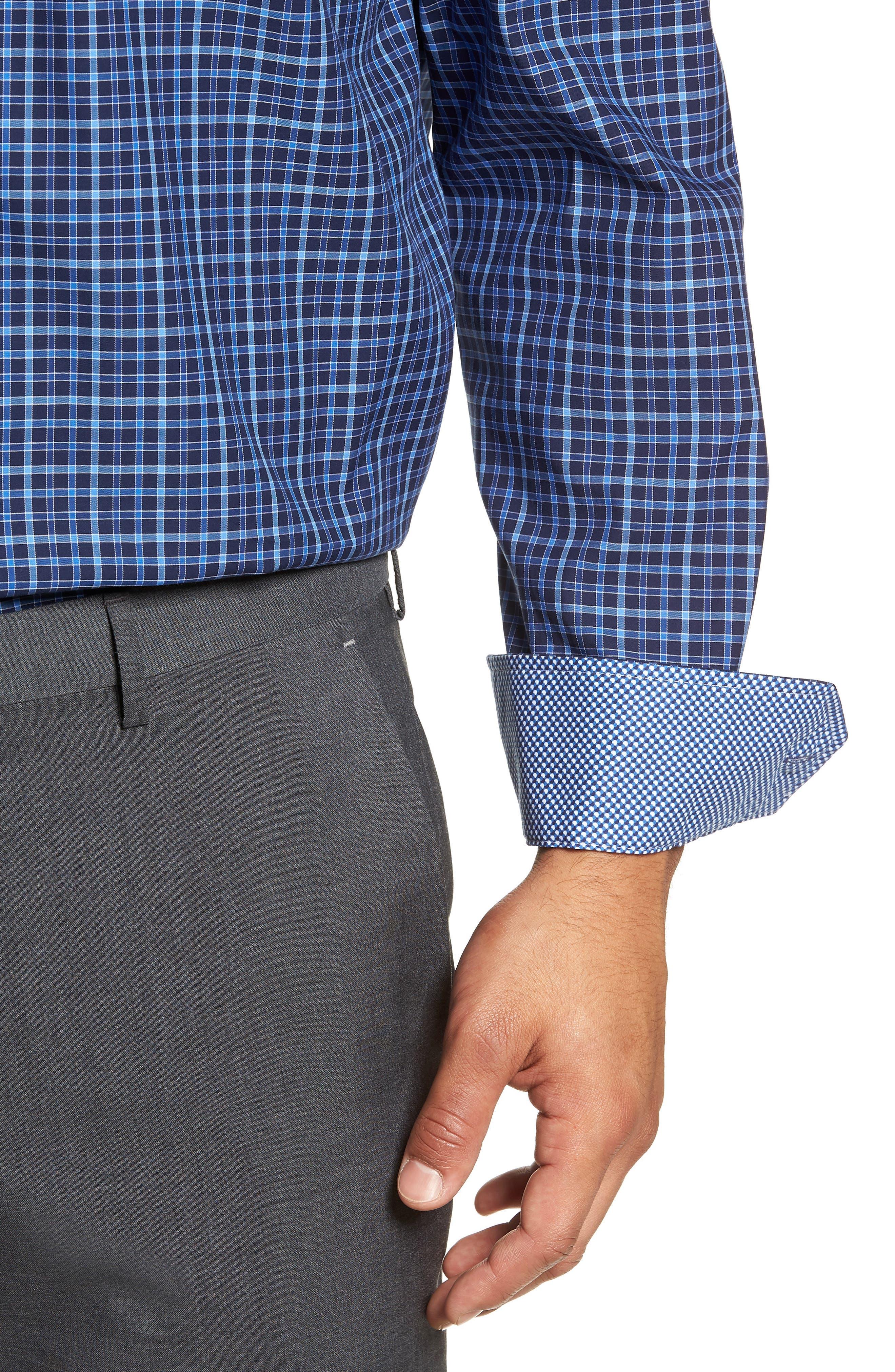 Trim Fit Check Dress Shirt,                             Alternate thumbnail 2, color,                             MIDNIGHT