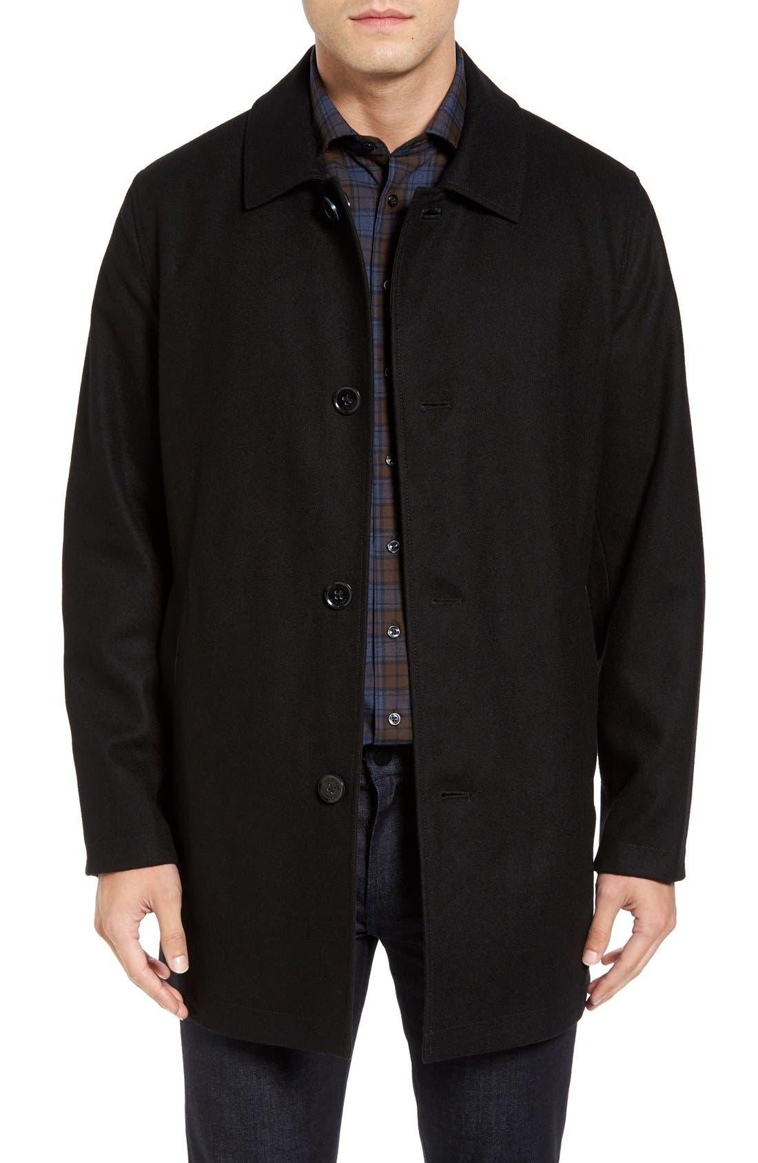 Cole Haan Reversible Wool Blend Overcoat,                         Main,                         color, 001