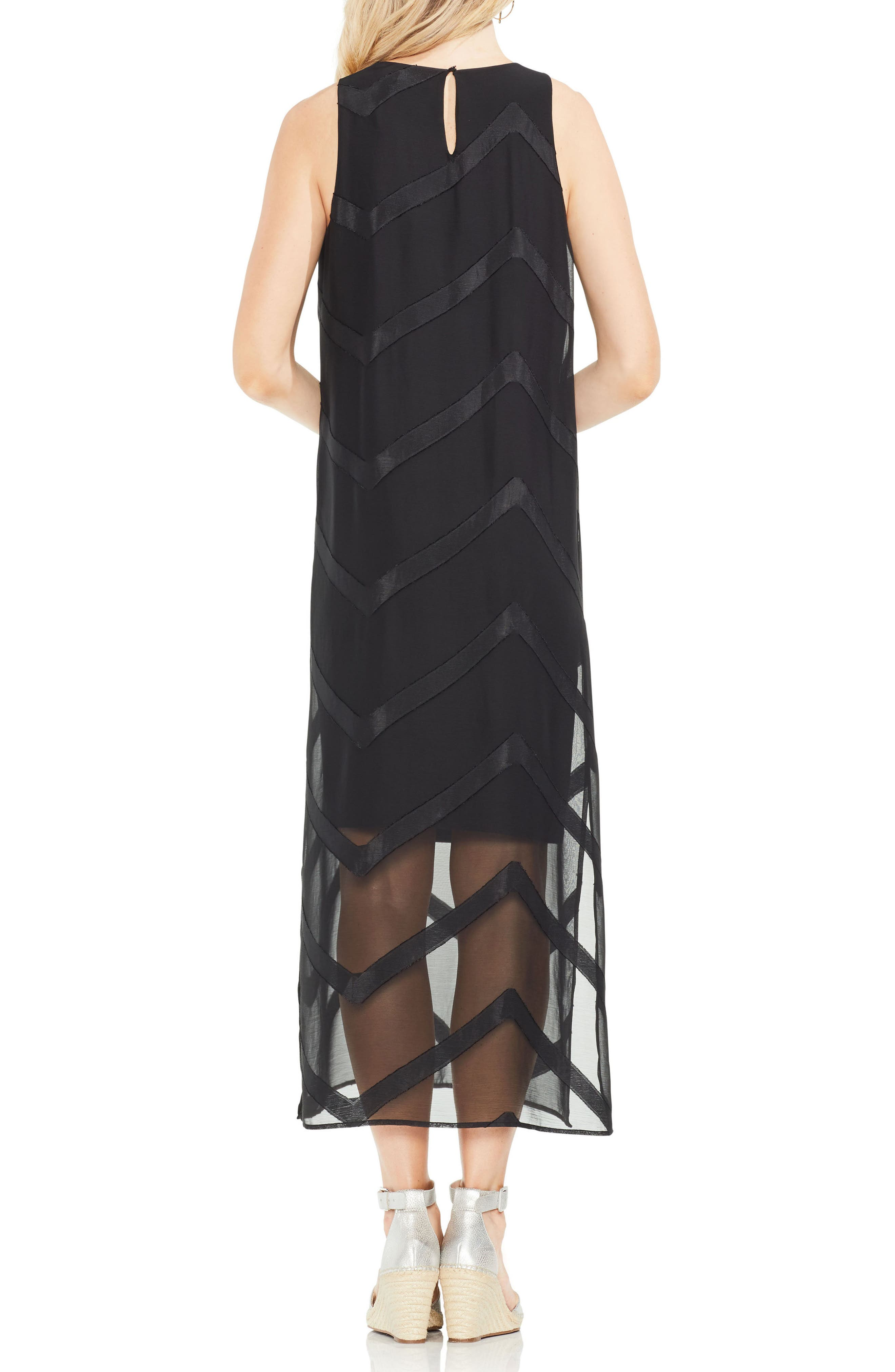 Sheer Chevron Maxi Dress,                             Alternate thumbnail 3, color,