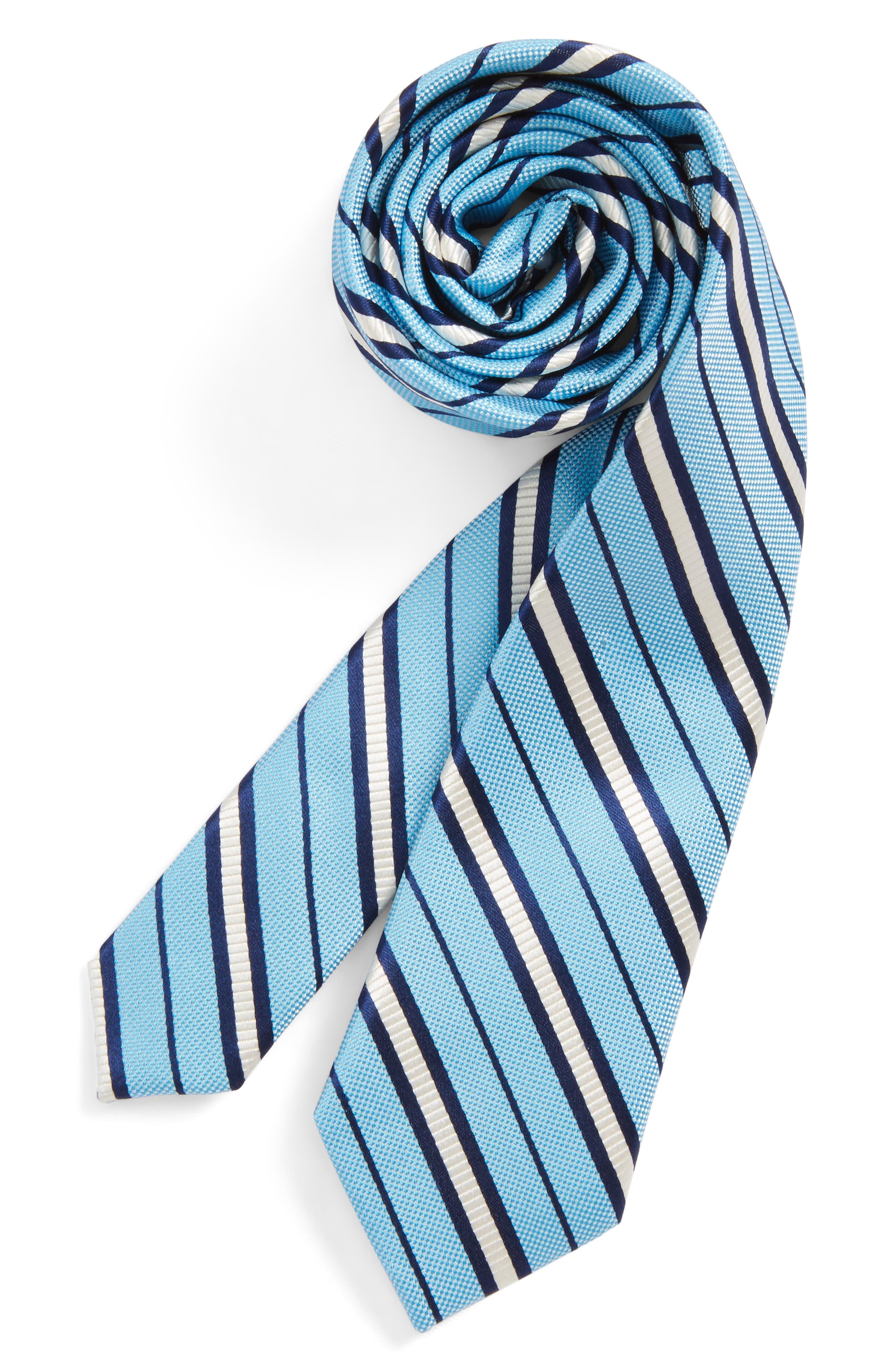 Candy Stripe Silk Tie,                             Main thumbnail 1, color,                             LIGHT BLUE