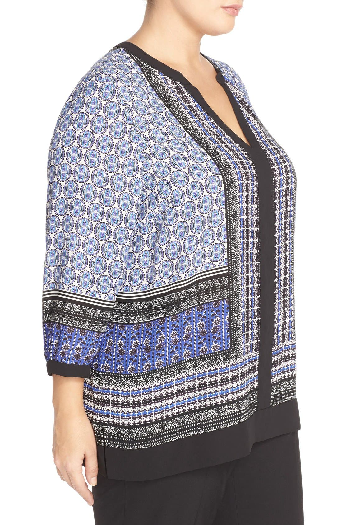 Print Split Neck Tunic,                             Alternate thumbnail 4, color,                             402