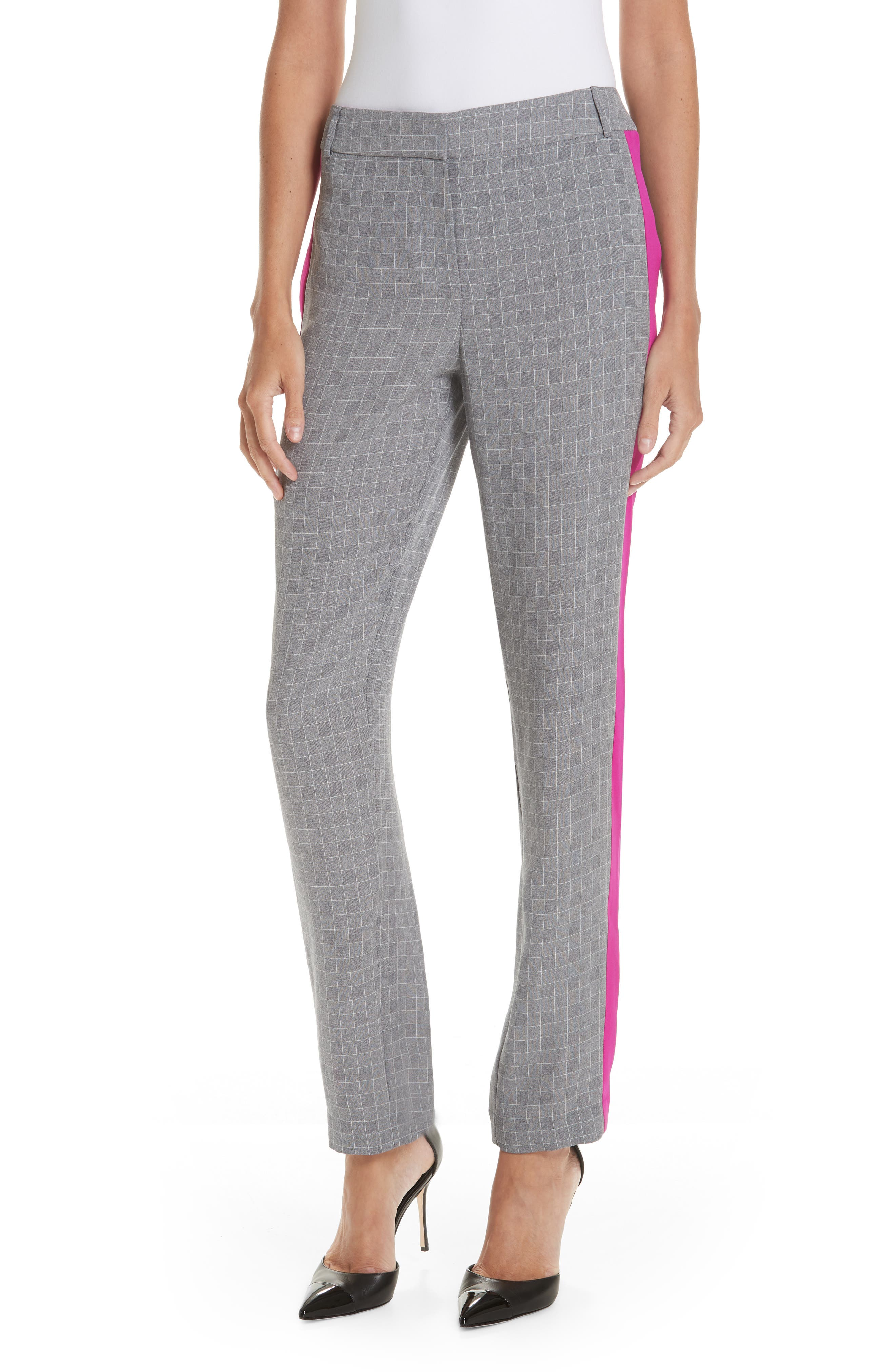 Side Stripe Check Silk Pants,                             Main thumbnail 1, color,                             CHROME/ CERISE