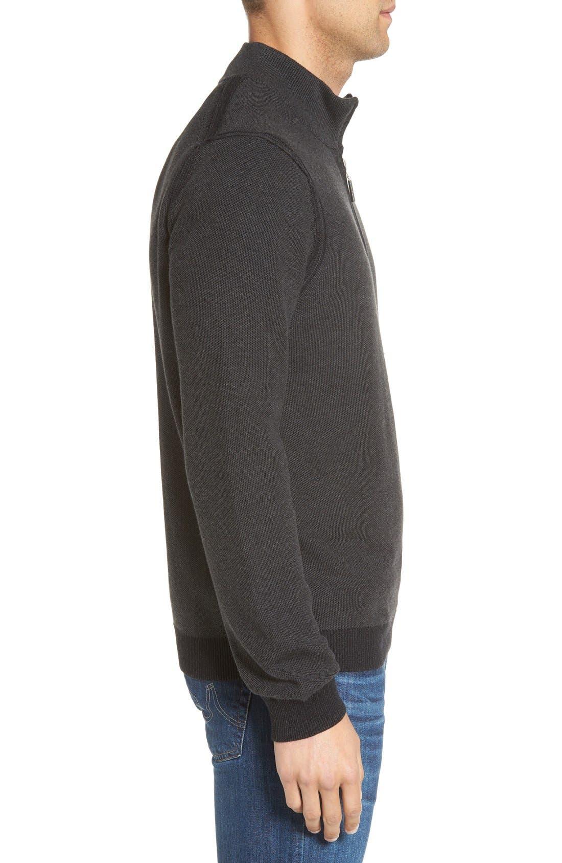 Make Mine a Double Reversible Quarter Zip Sweater,                             Alternate thumbnail 3, color,                             001
