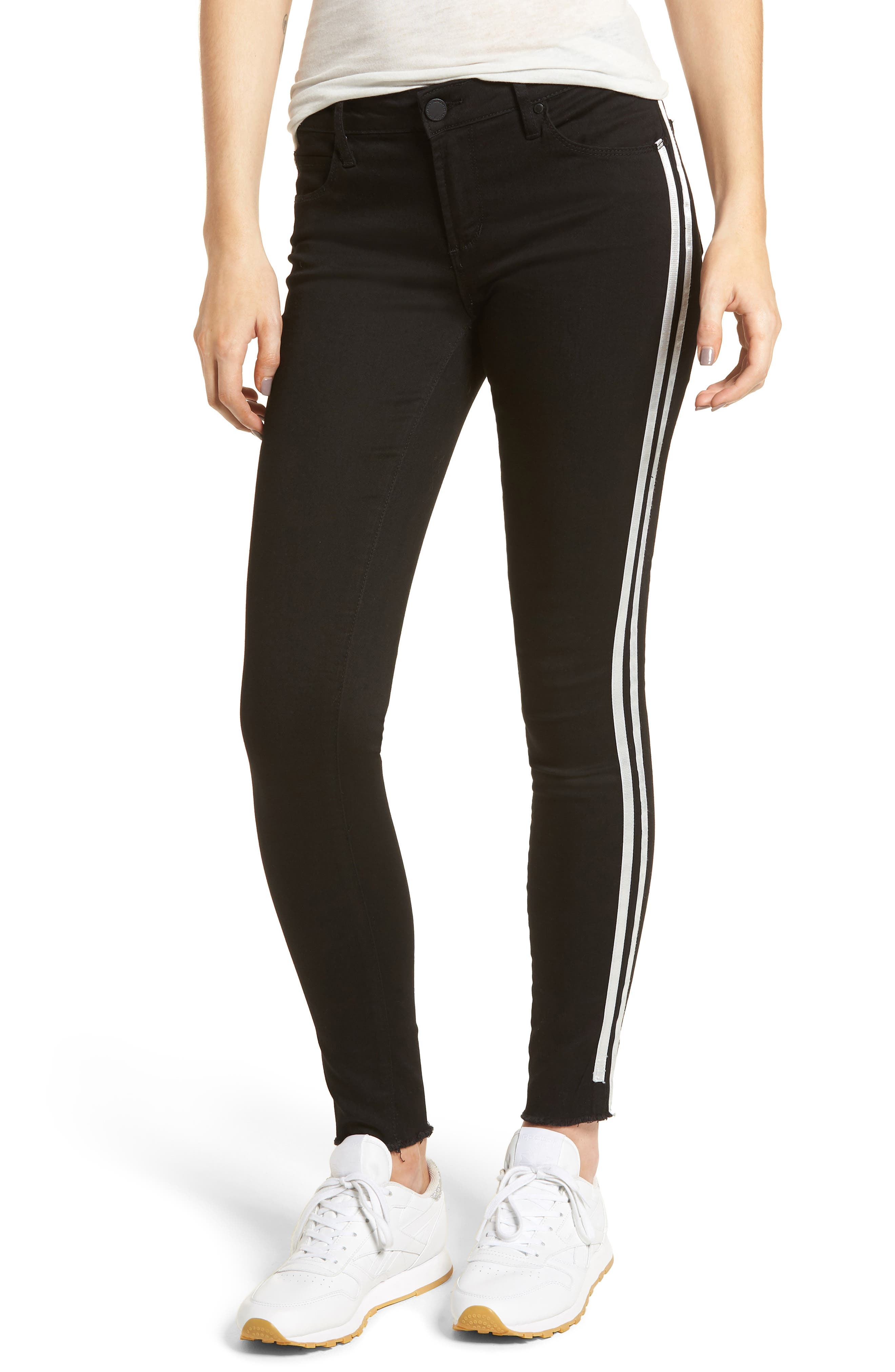 Sarah Stripe Skinny Jeans,                             Main thumbnail 1, color,                             011