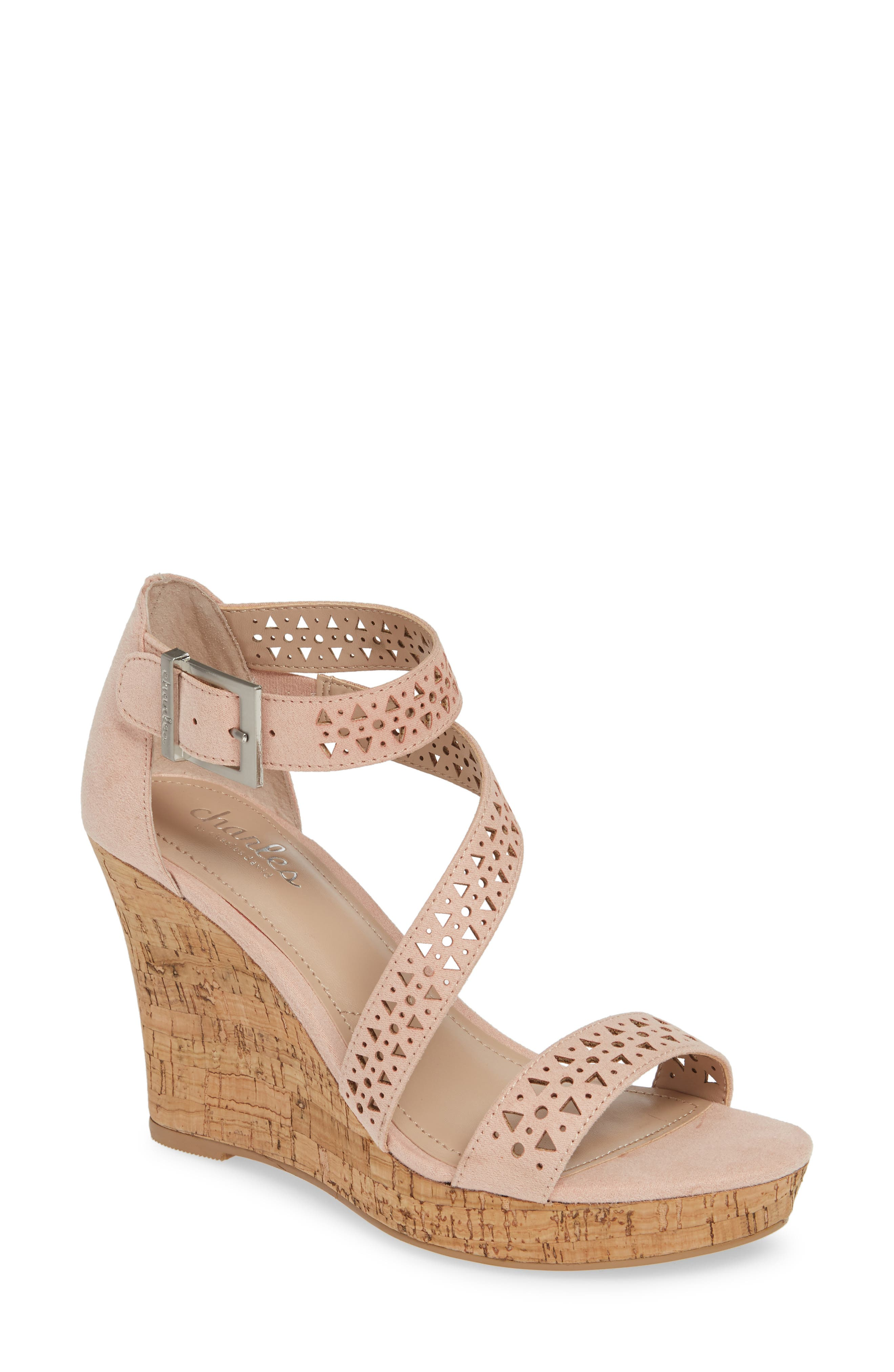 Charles By Charles David Landon Perforated Wedge Sandal- Pink