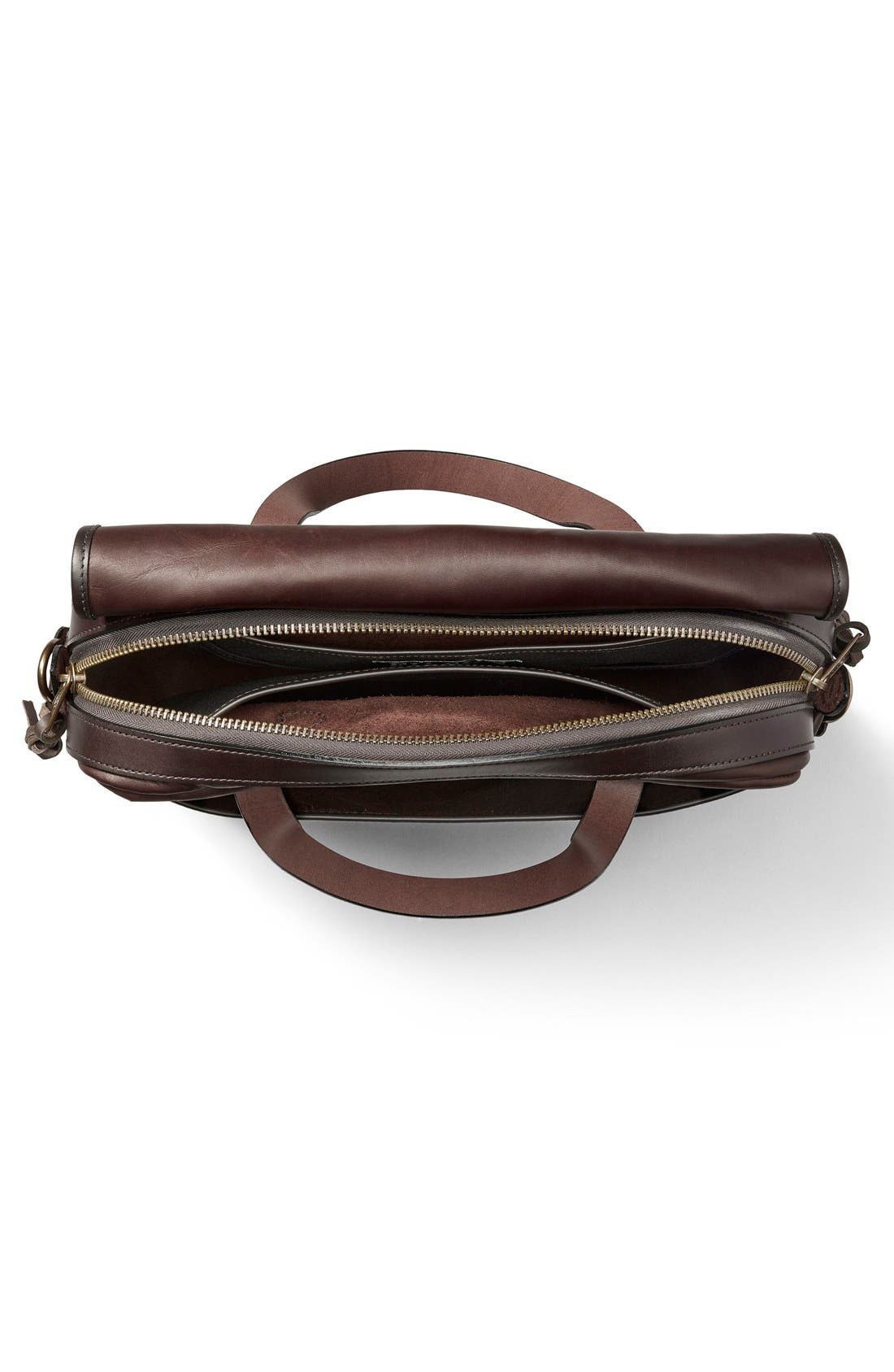 Weatherproof Leather Briefcase,                             Alternate thumbnail 3, color,