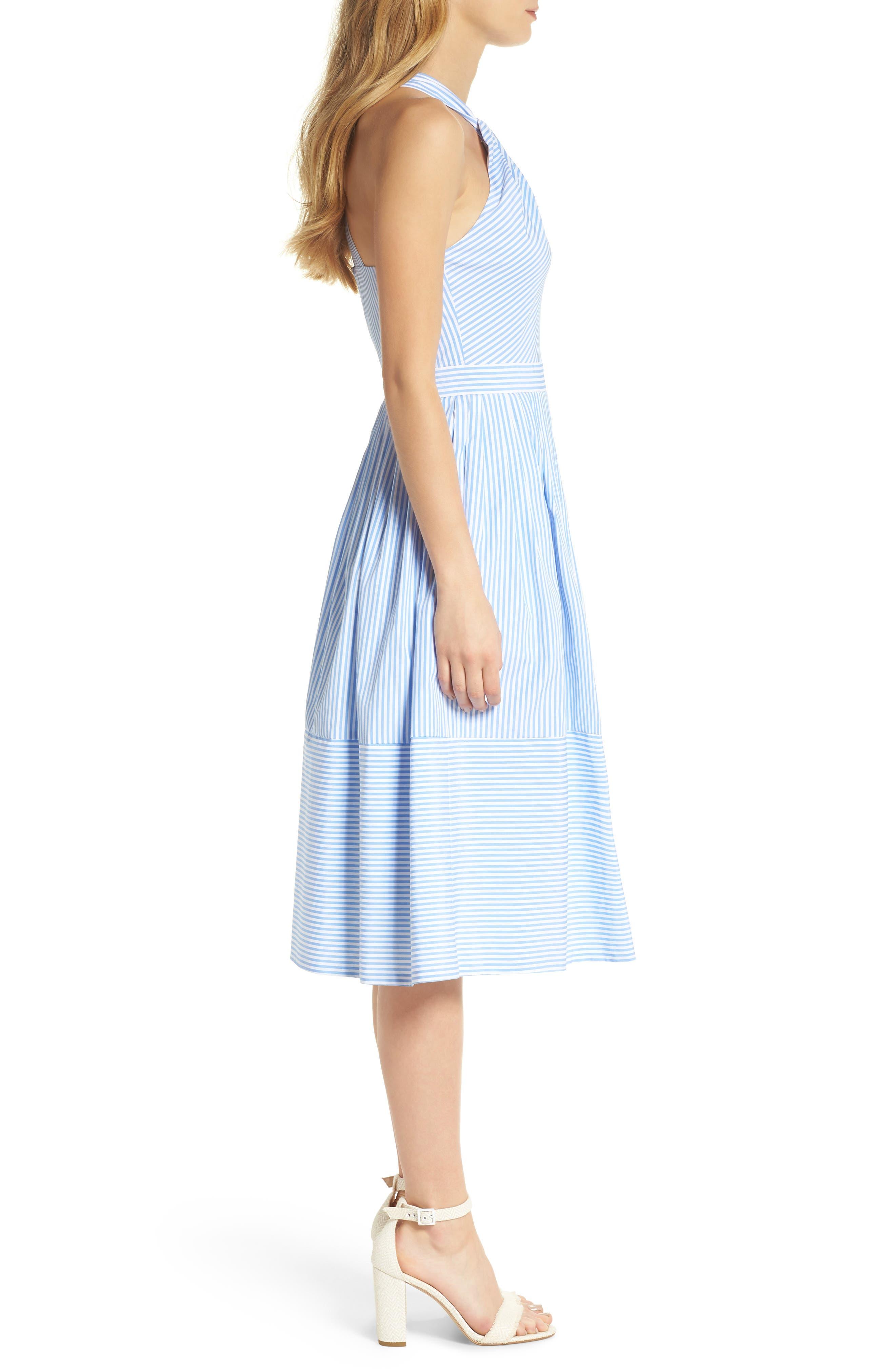 Claire Stripe Halter Dress,                             Alternate thumbnail 3, color,                             461