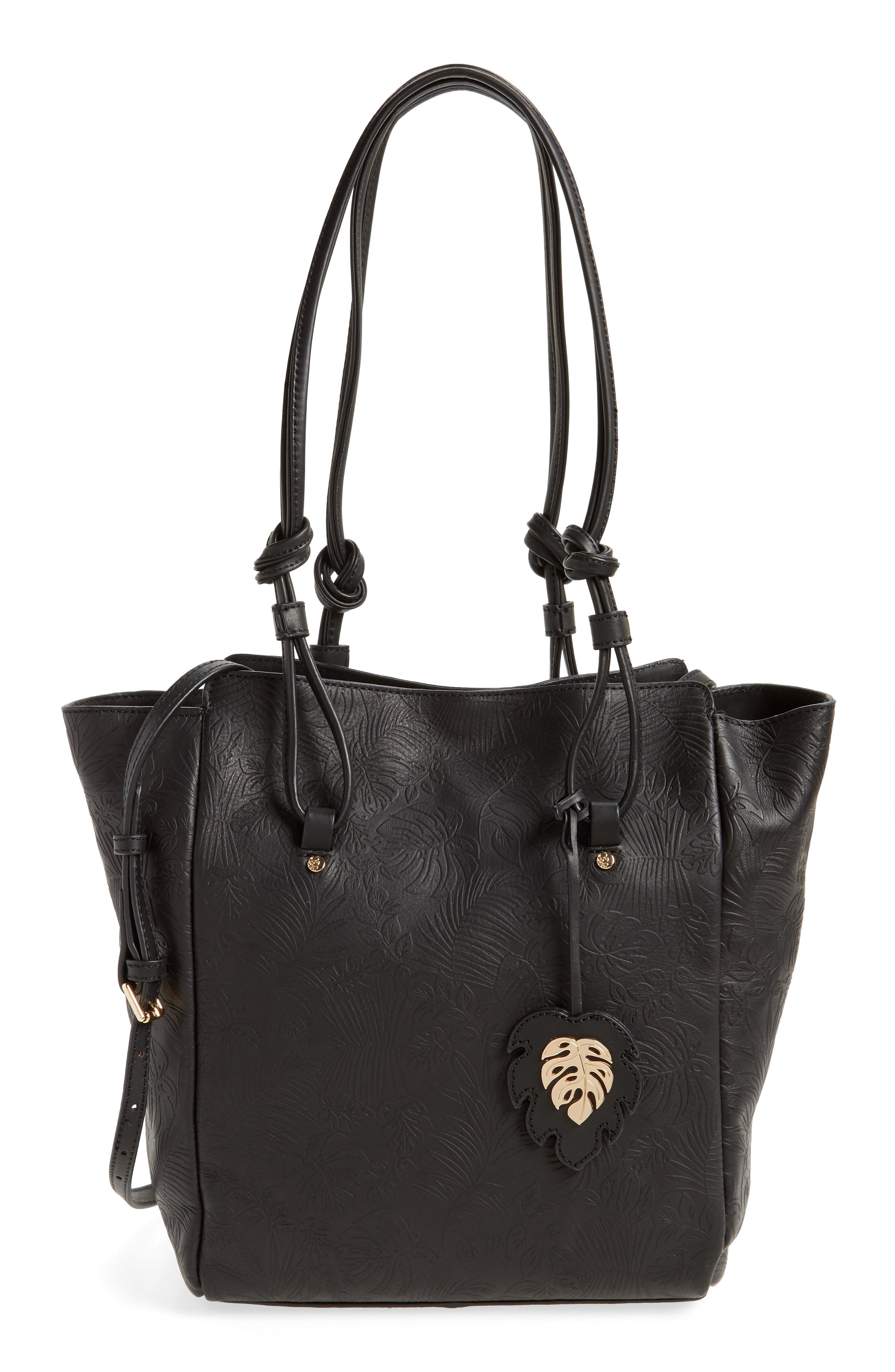 Embossed Leather Tote,                         Main,                         color, 001