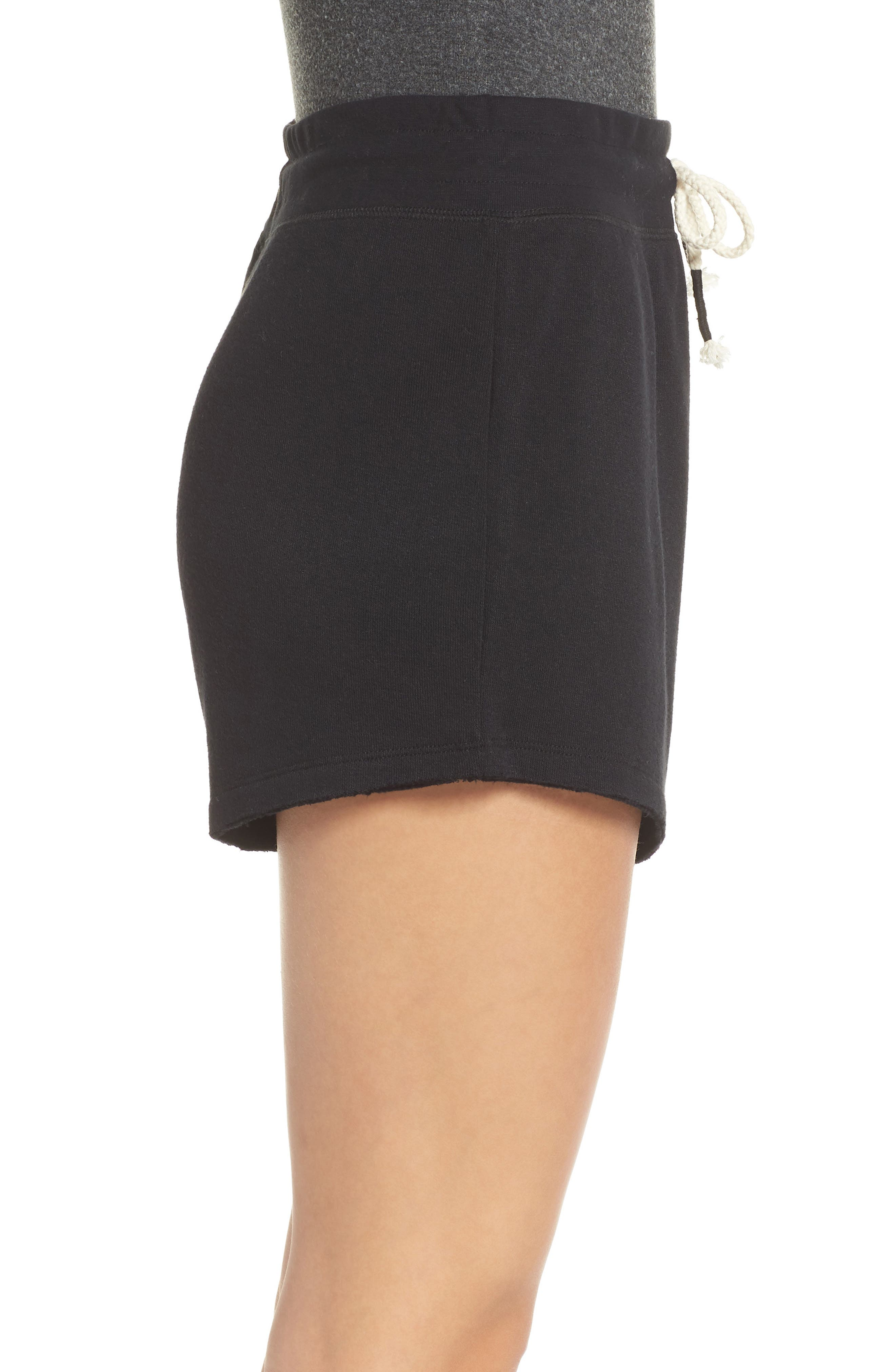 Dreamy High Rise Fleece Shorts,                             Alternate thumbnail 3, color,                             BLACK
