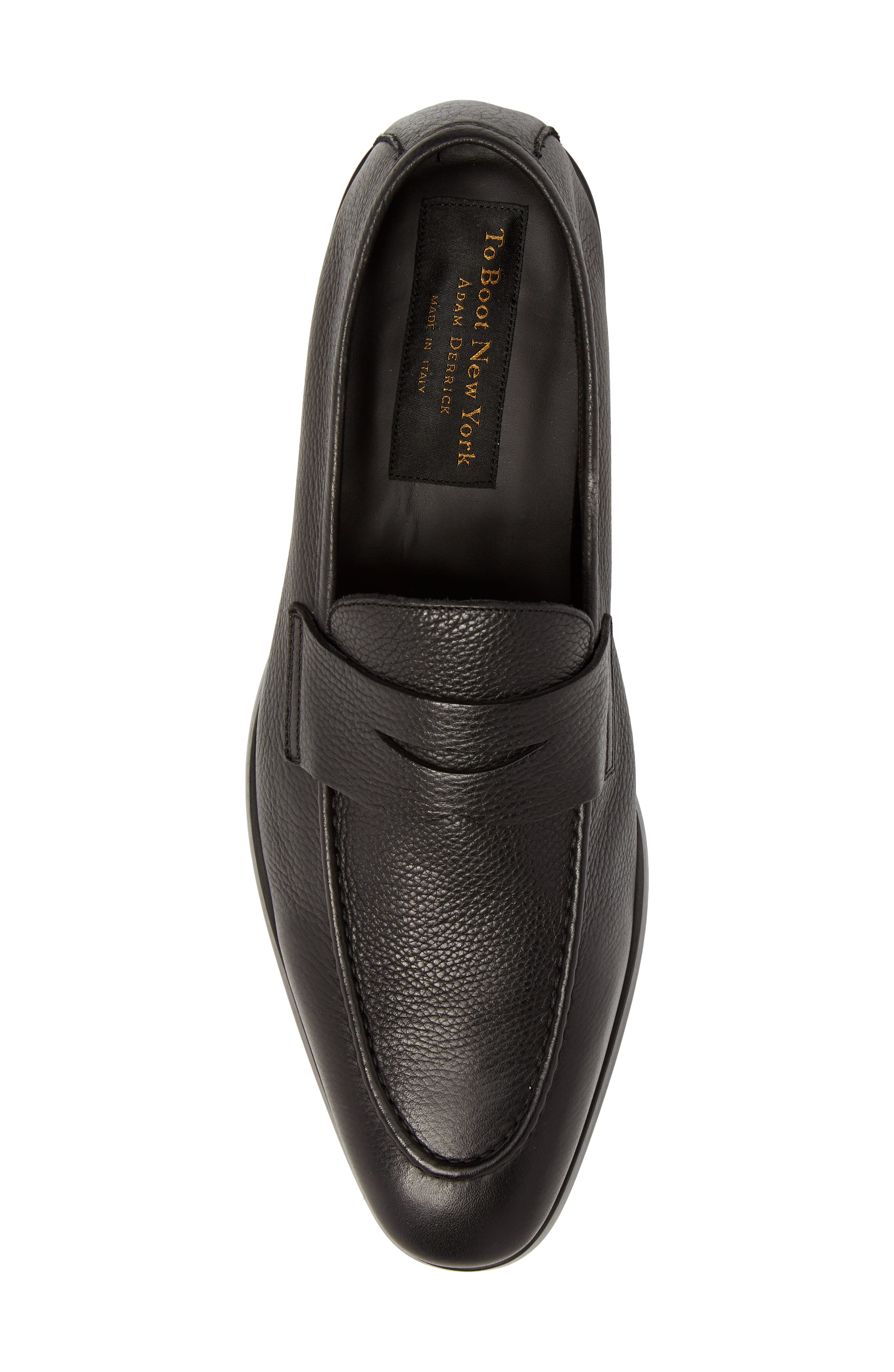 TO BOOT NEW YORK,                             Johnson Penny Loafer,                             Alternate thumbnail 5, color,                             BLACK PEBBLED LEATHER