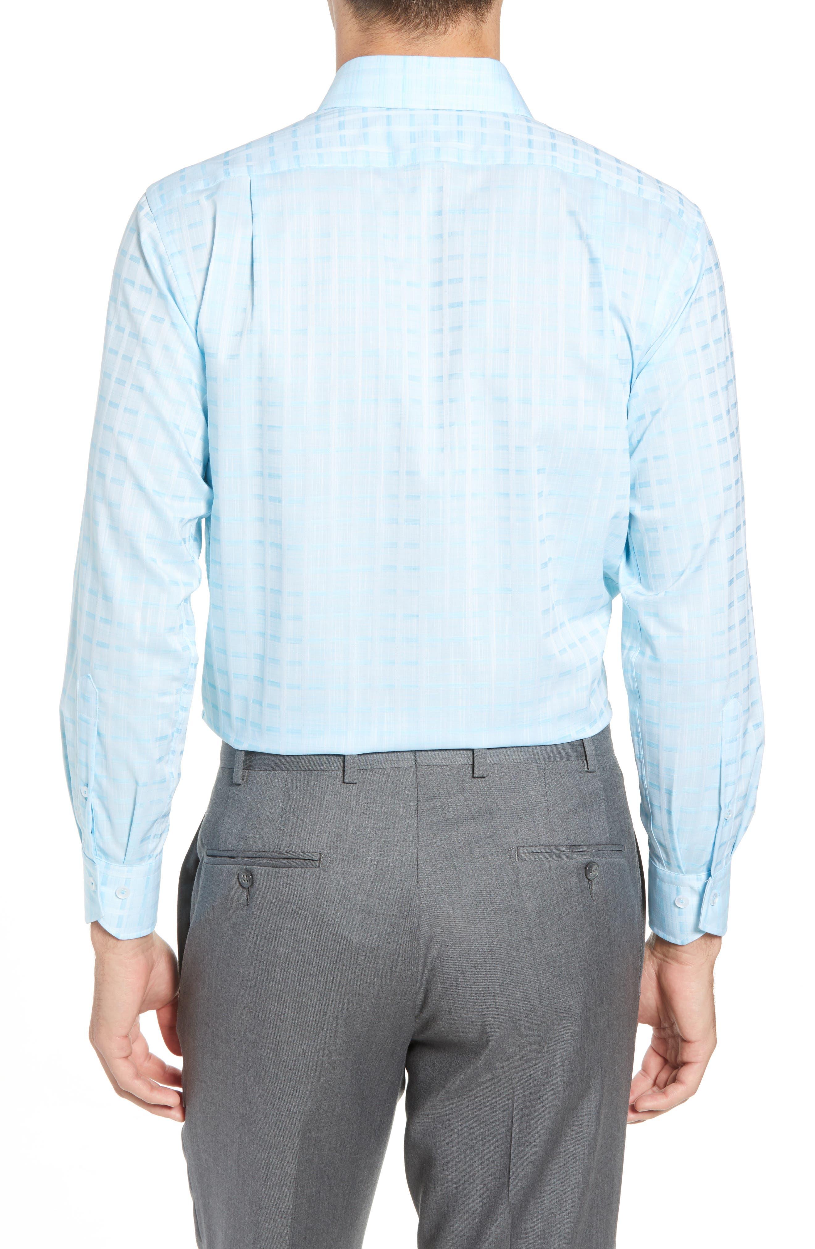 Trim Fit Check Dress Shirt,                             Alternate thumbnail 3, color,                             AQUA