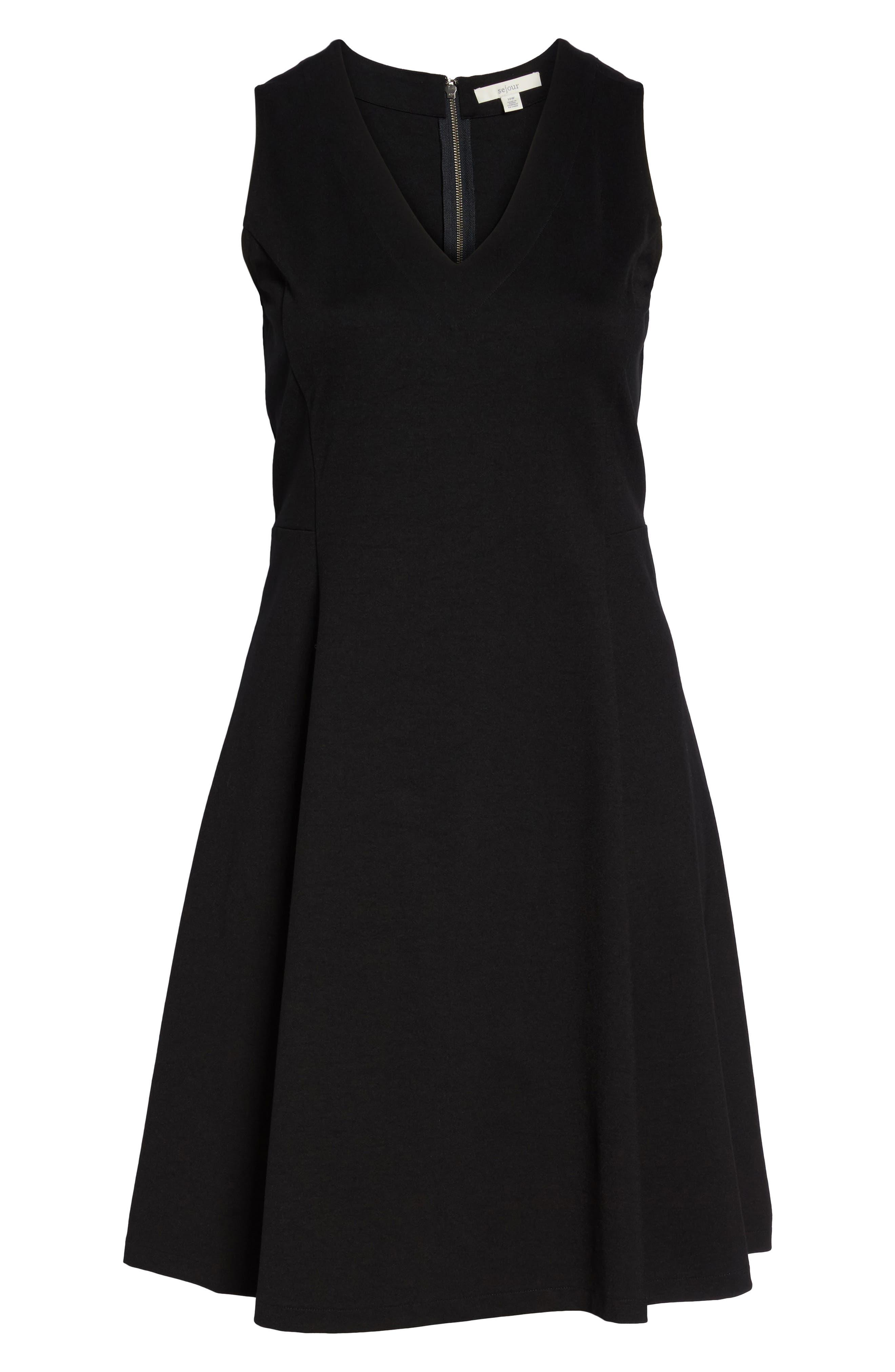 V-Neck Ponte Fit & Flare Dress,                             Alternate thumbnail 7, color,                             BLACK