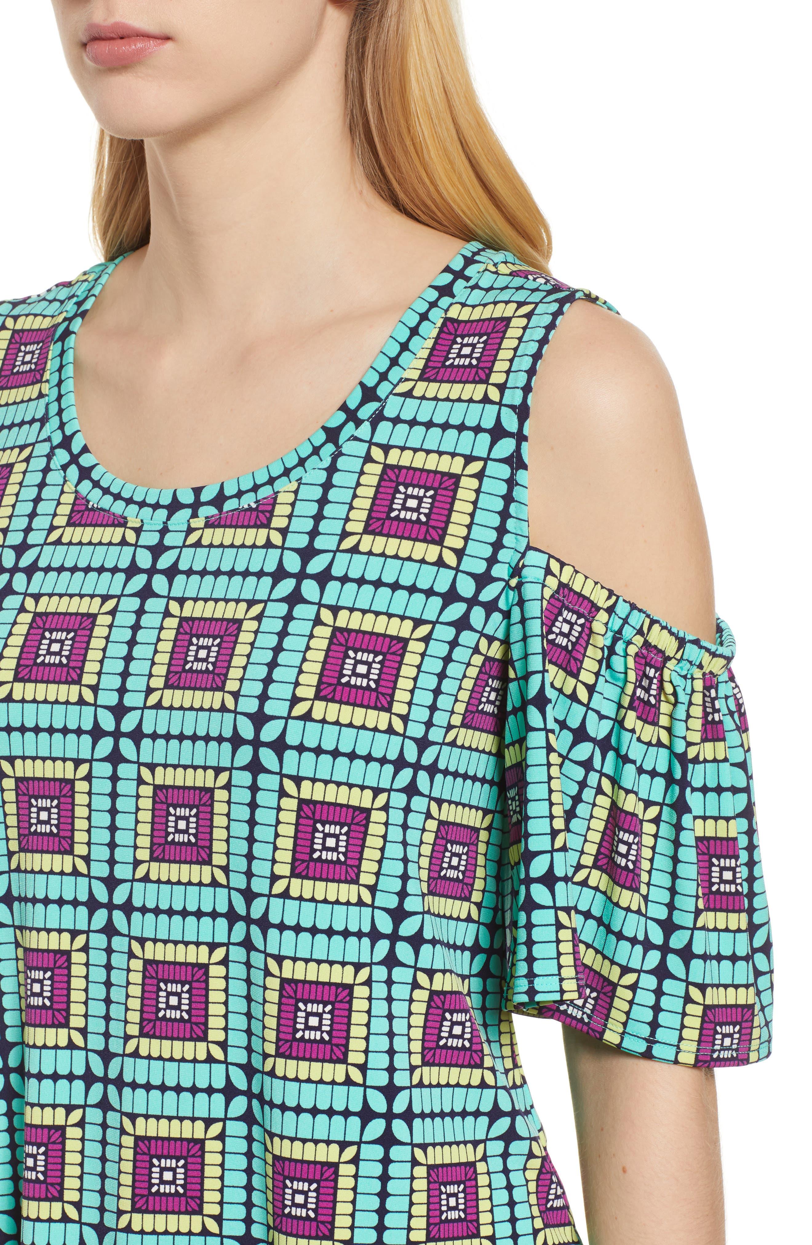 Plaza Tile Cold Shoulder Top,                             Alternate thumbnail 4, color,                             CASBAH TEAL