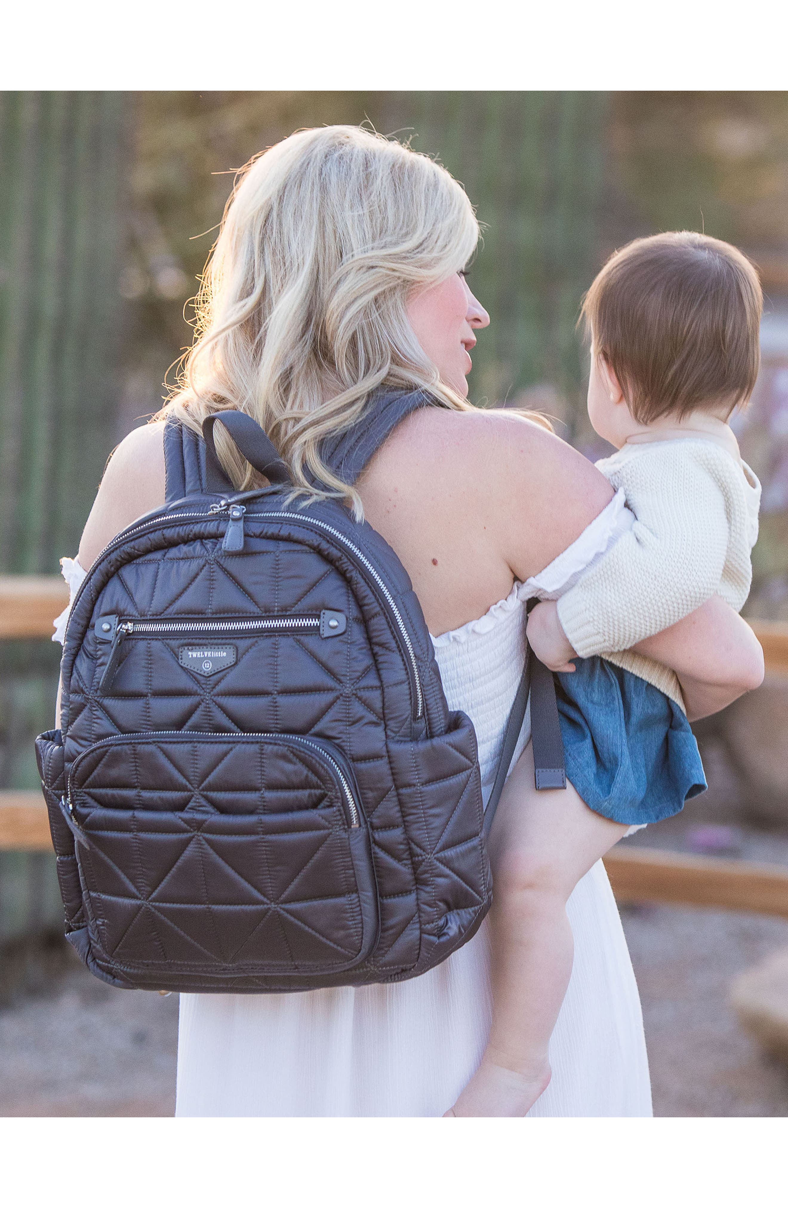 Companion Quilted Nylon Diaper Backpack,                             Alternate thumbnail 5, color,                             PLATINUM