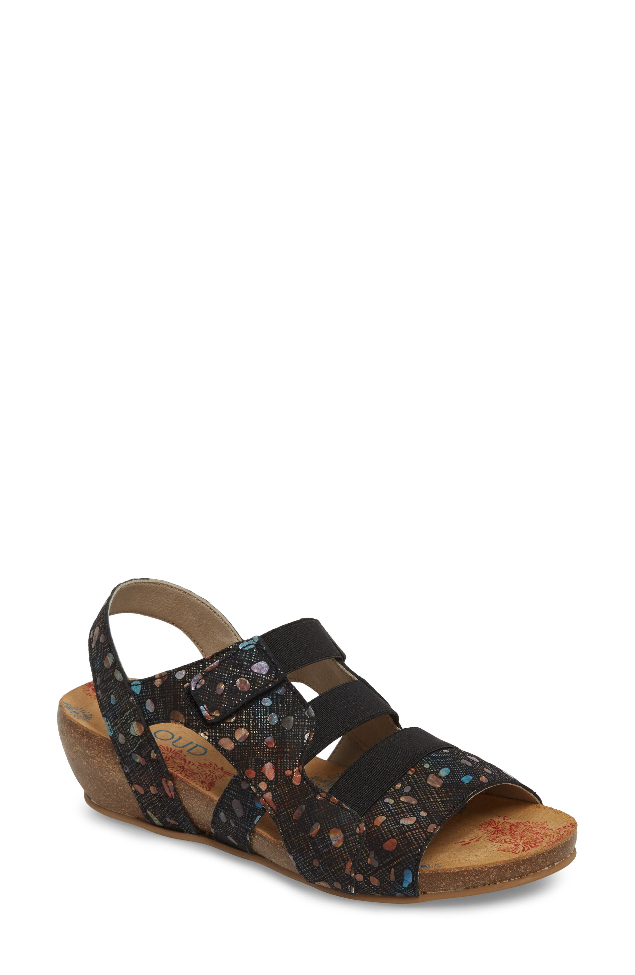 Duffy Wedge Sandal,                             Main thumbnail 1, color,                             BUBBLE LEATHER