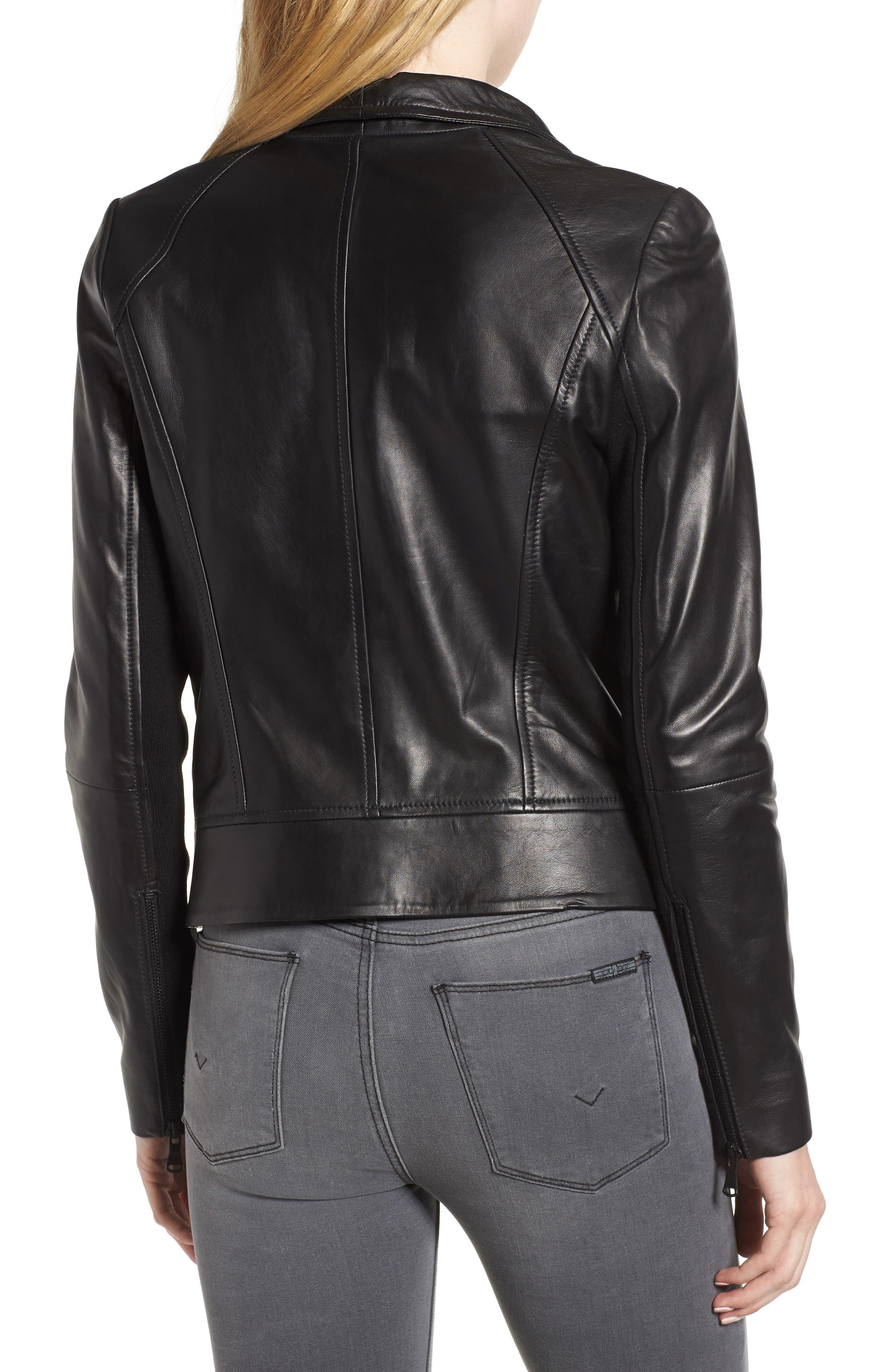 Drape Front Leather Jacket,                             Alternate thumbnail 2, color,                             BLACK