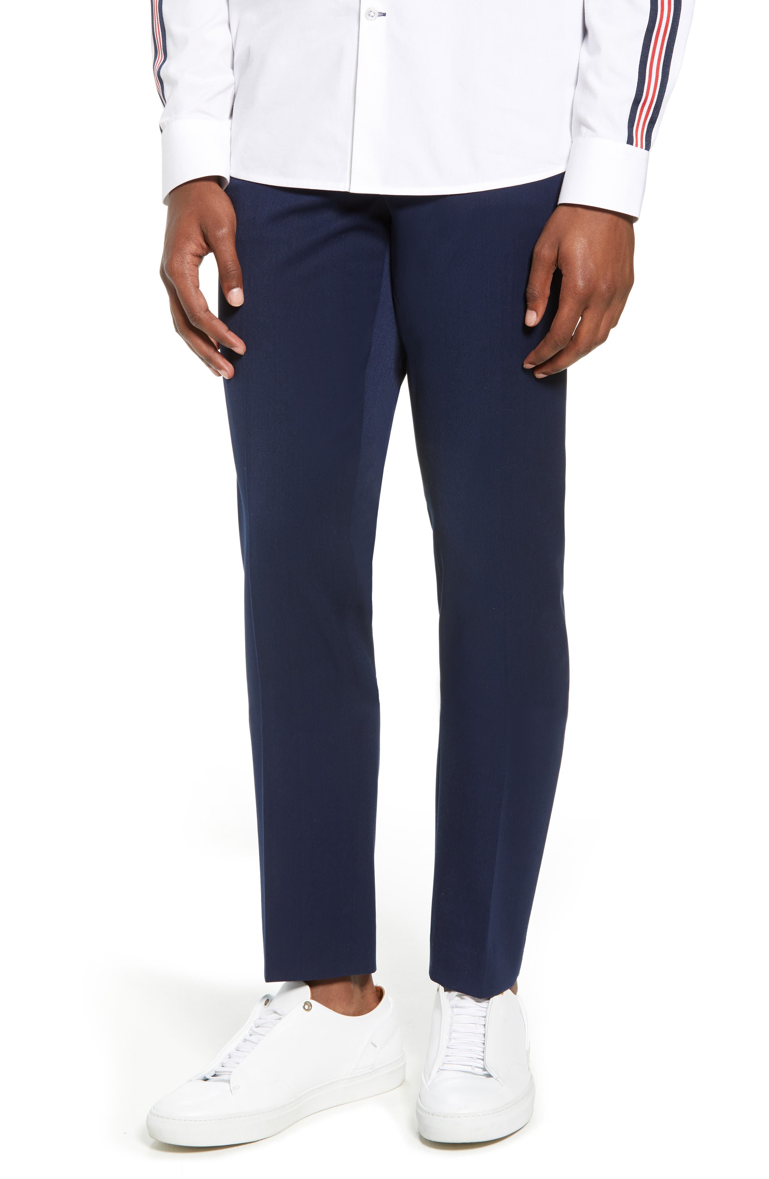 Muscle Fit Trousers,                             Main thumbnail 1, color,                             NAVY BLUE