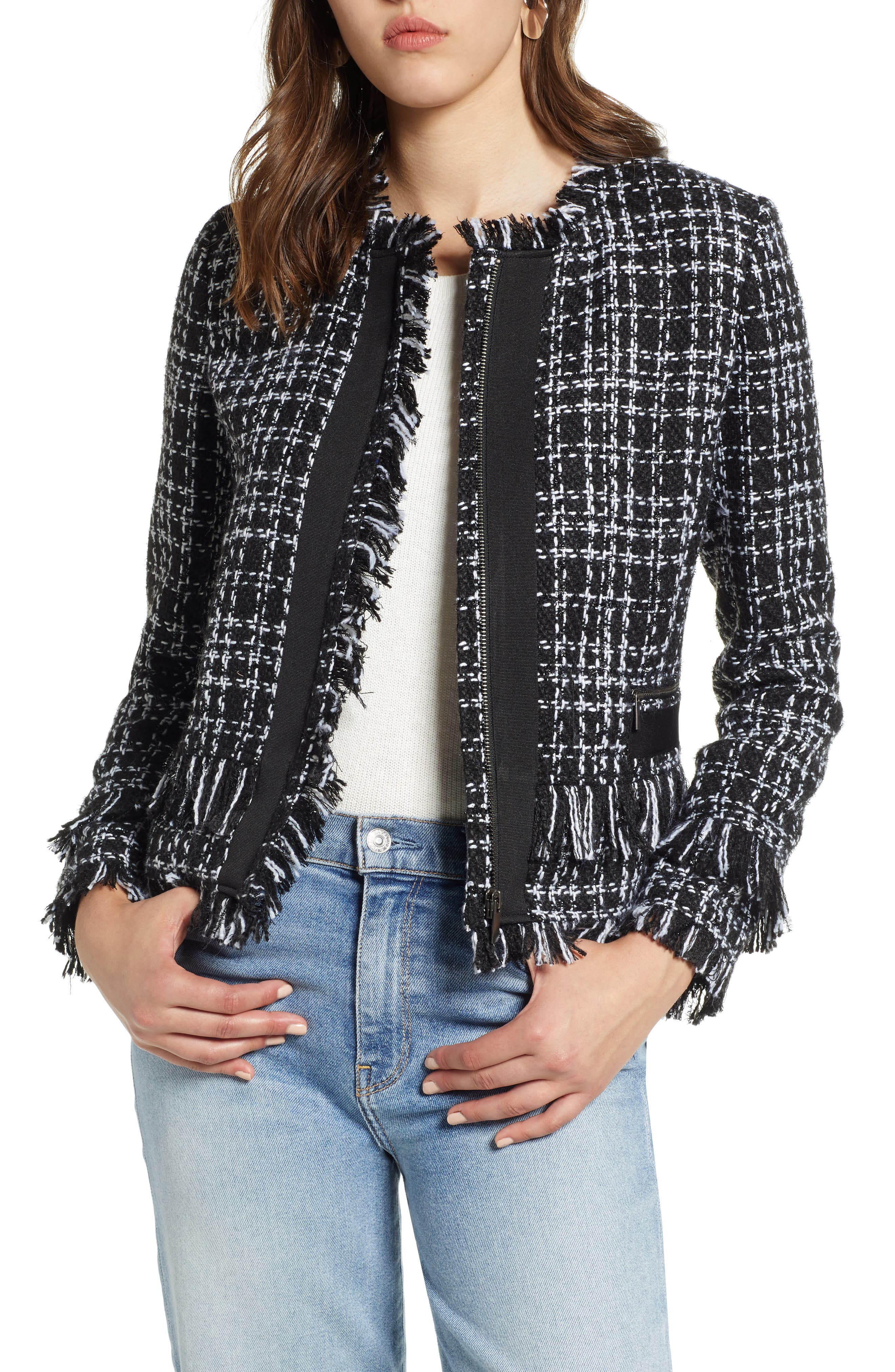 Tweed Jacket,                             Main thumbnail 1, color,                             BLACK- WHITE TWEED