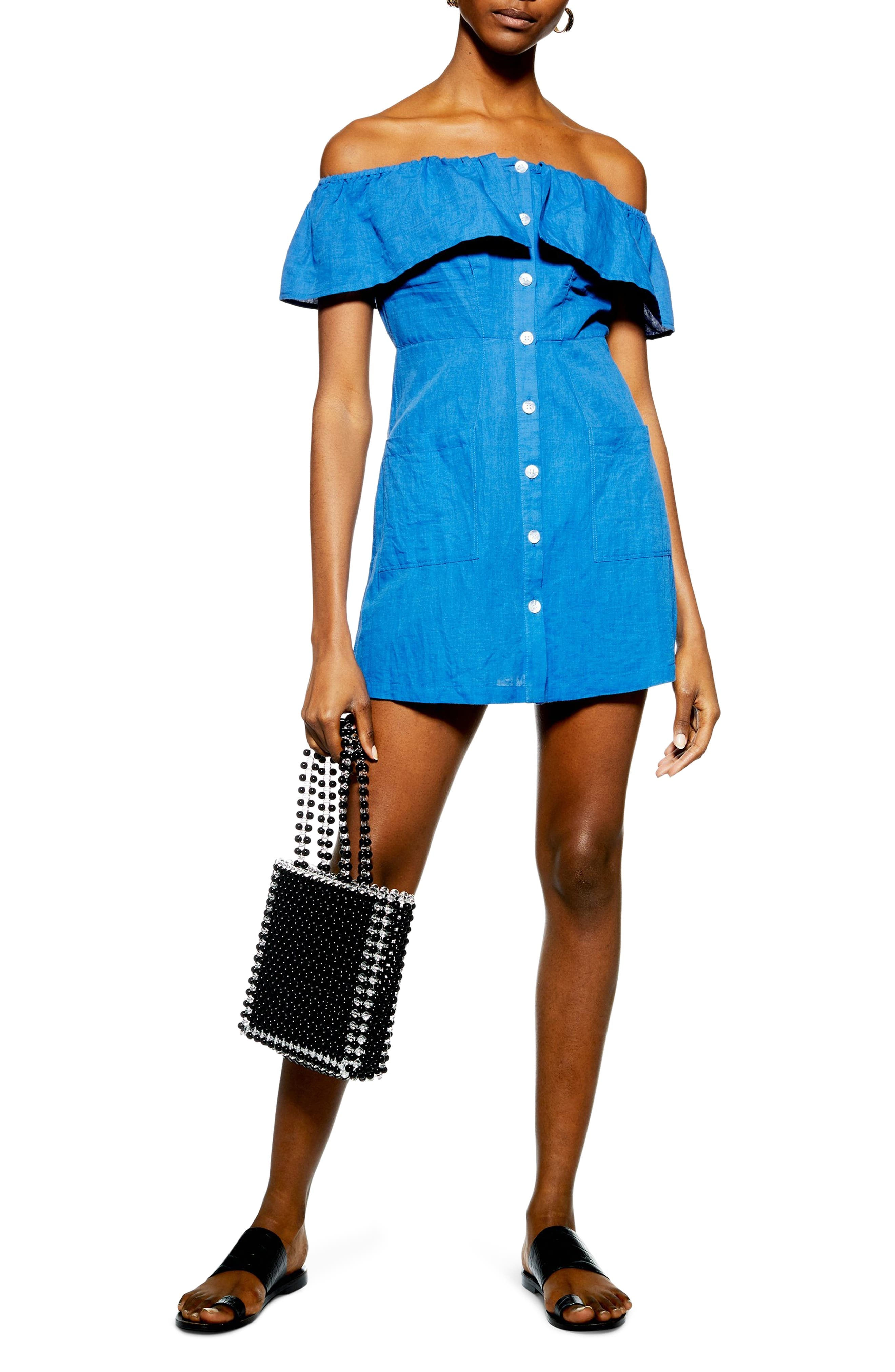 Topshop Off The Shoulder Button Down Minidress, US (fits like 0-2) - Blue