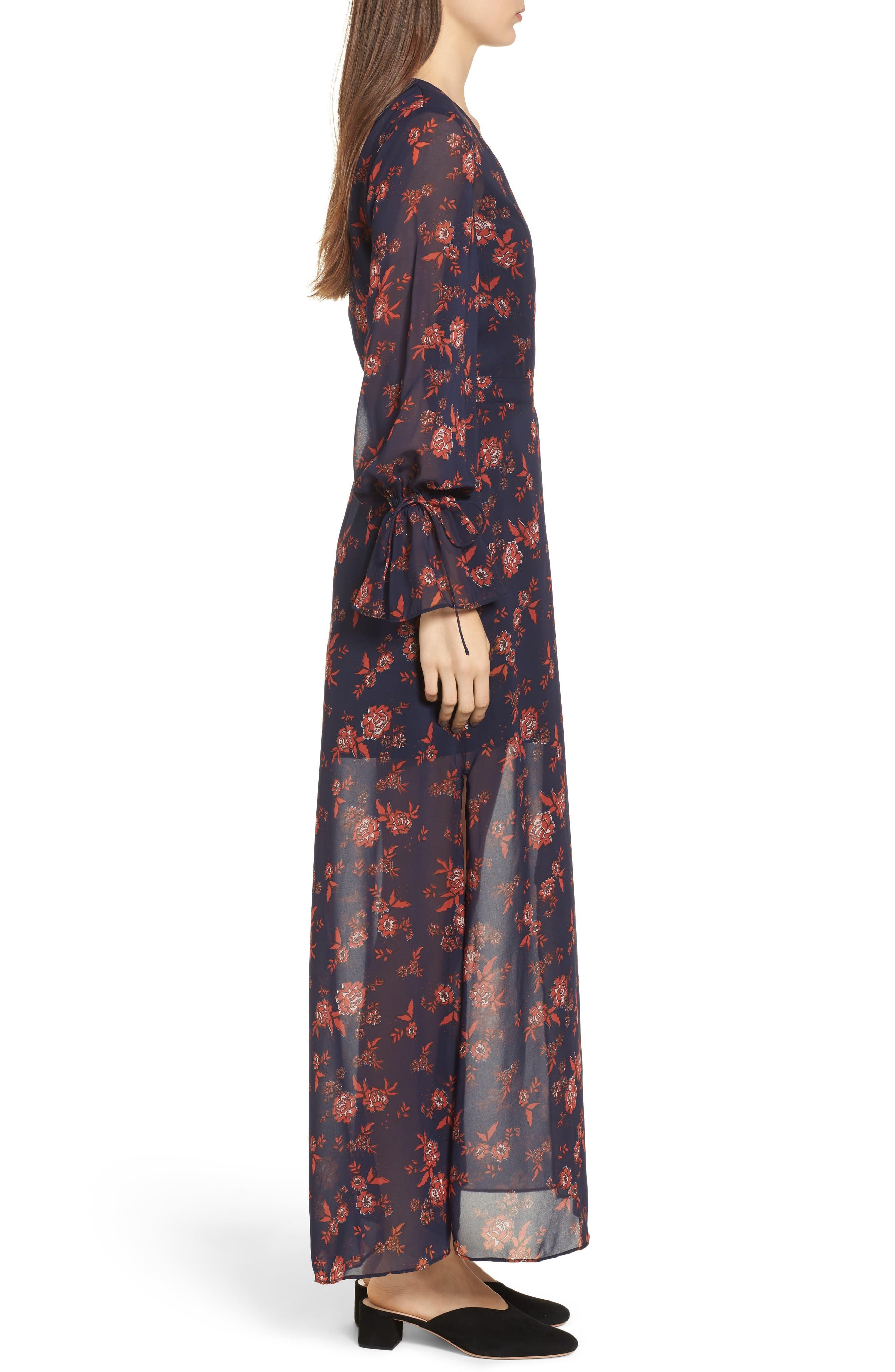Capital Floral Wrap Maxi Dress,                             Alternate thumbnail 3, color,                             413