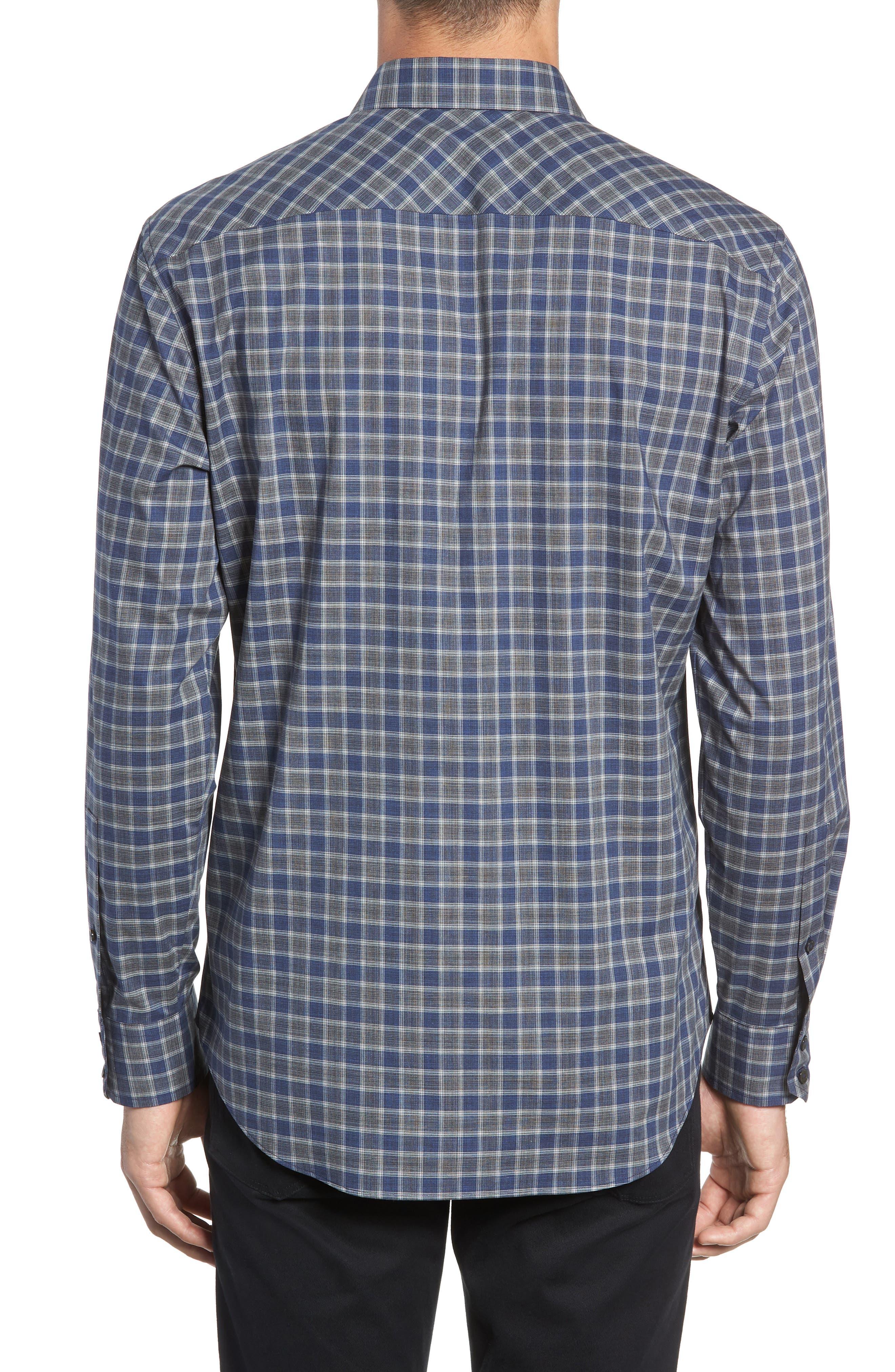 ZACHARY PRELL,                             Giunta Regular Fit Check Sport Shirt,                             Alternate thumbnail 3, color,                             BLUE