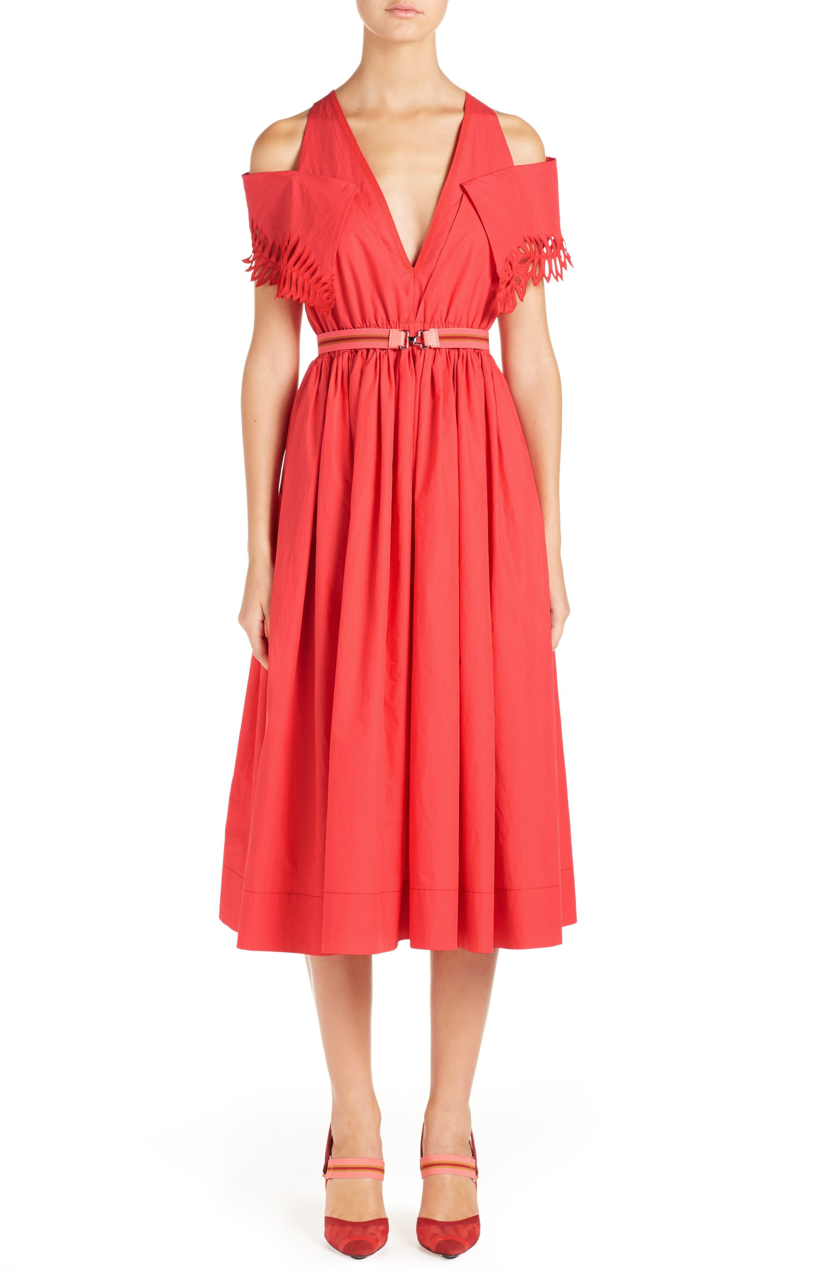 Cold Shoulder Taffeta Midi Dress,                             Main thumbnail 1, color,                             616