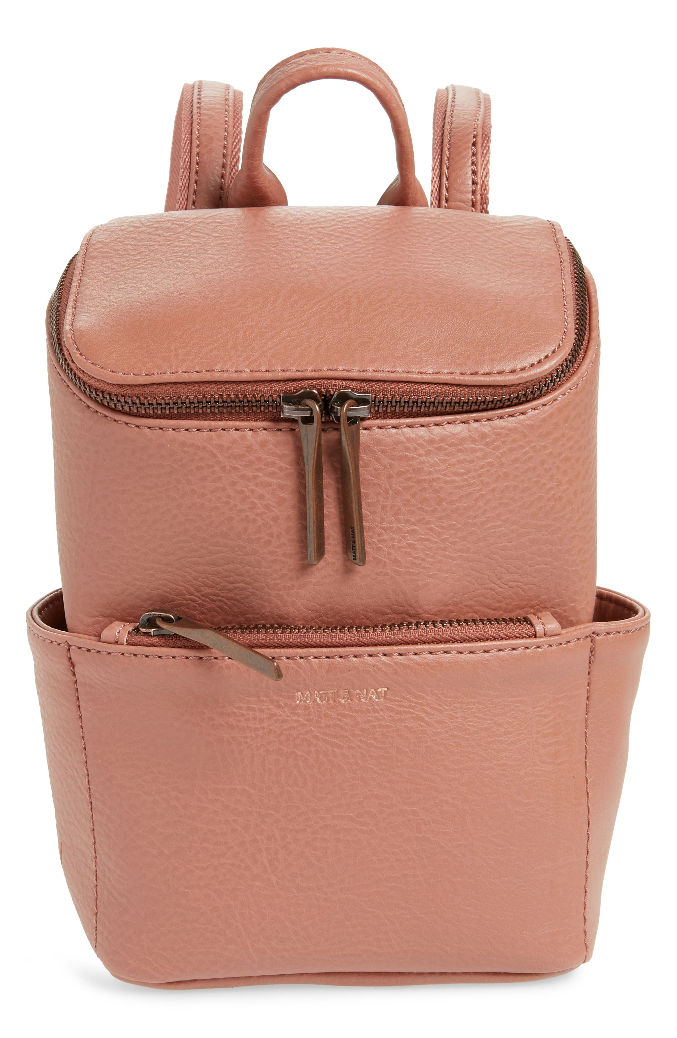 MATT & NAT Mini Brave Faux Leather Backpack - Pink in Clay