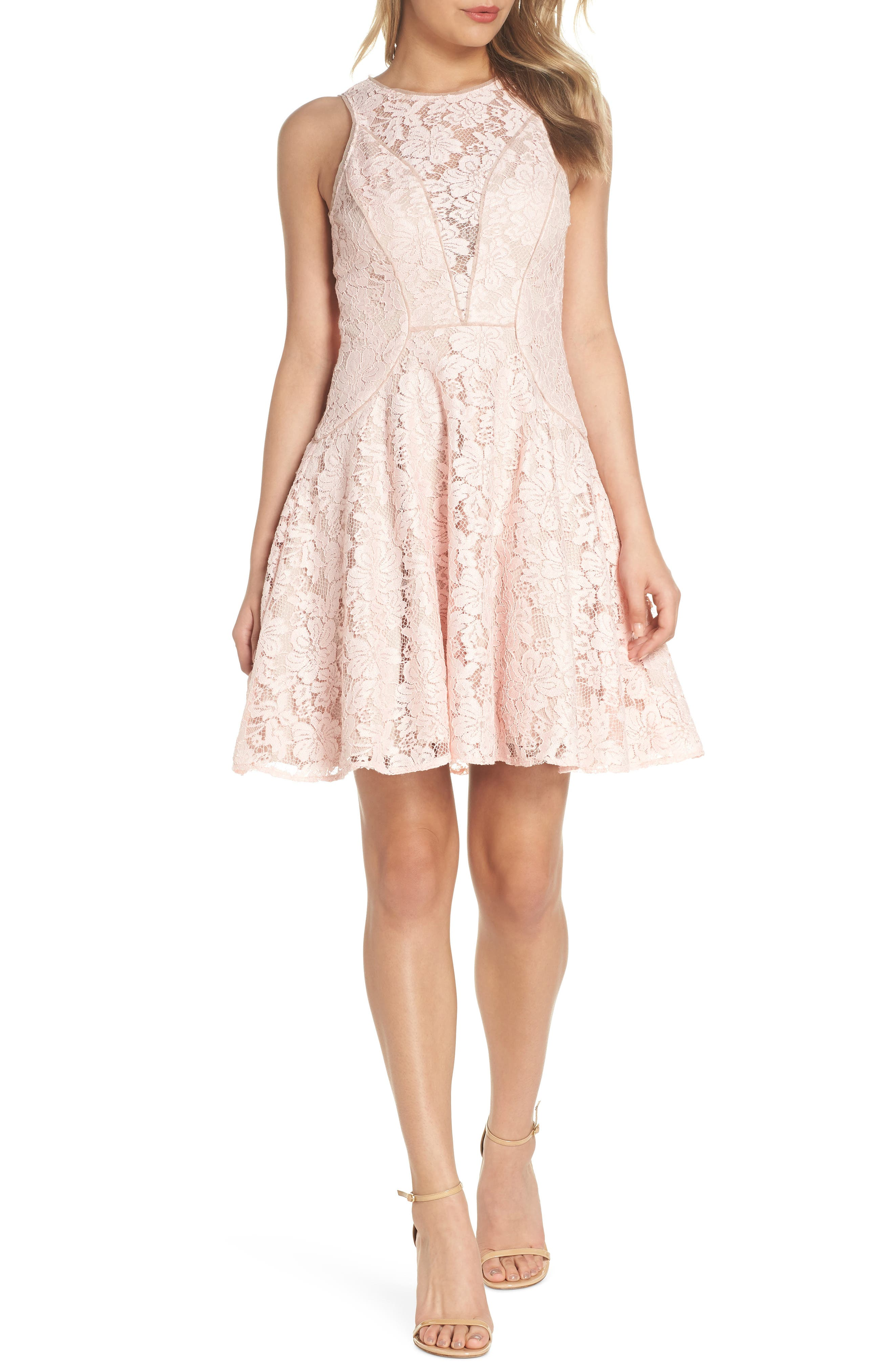 Lace Fit & Flare Dress,                             Alternate thumbnail 6, color,                             682