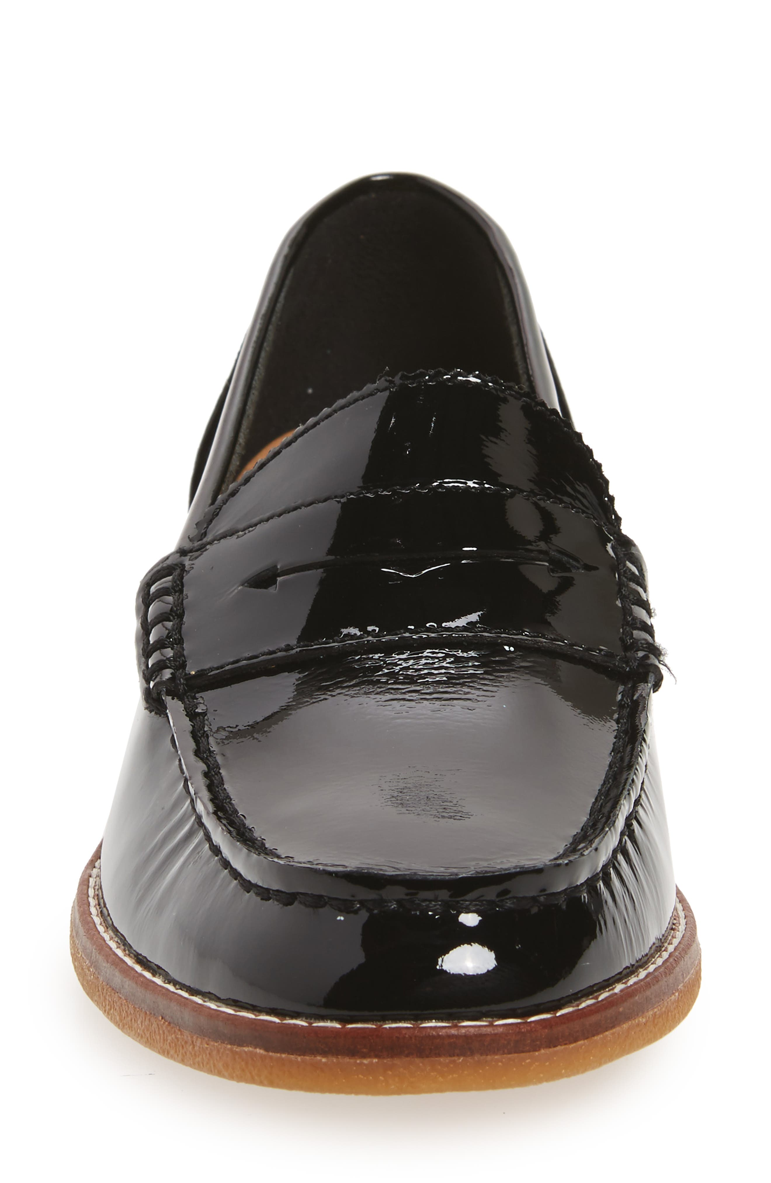 Seaport Penny Loafer,                             Alternate thumbnail 4, color,                             BLACK PATENT LEATHER