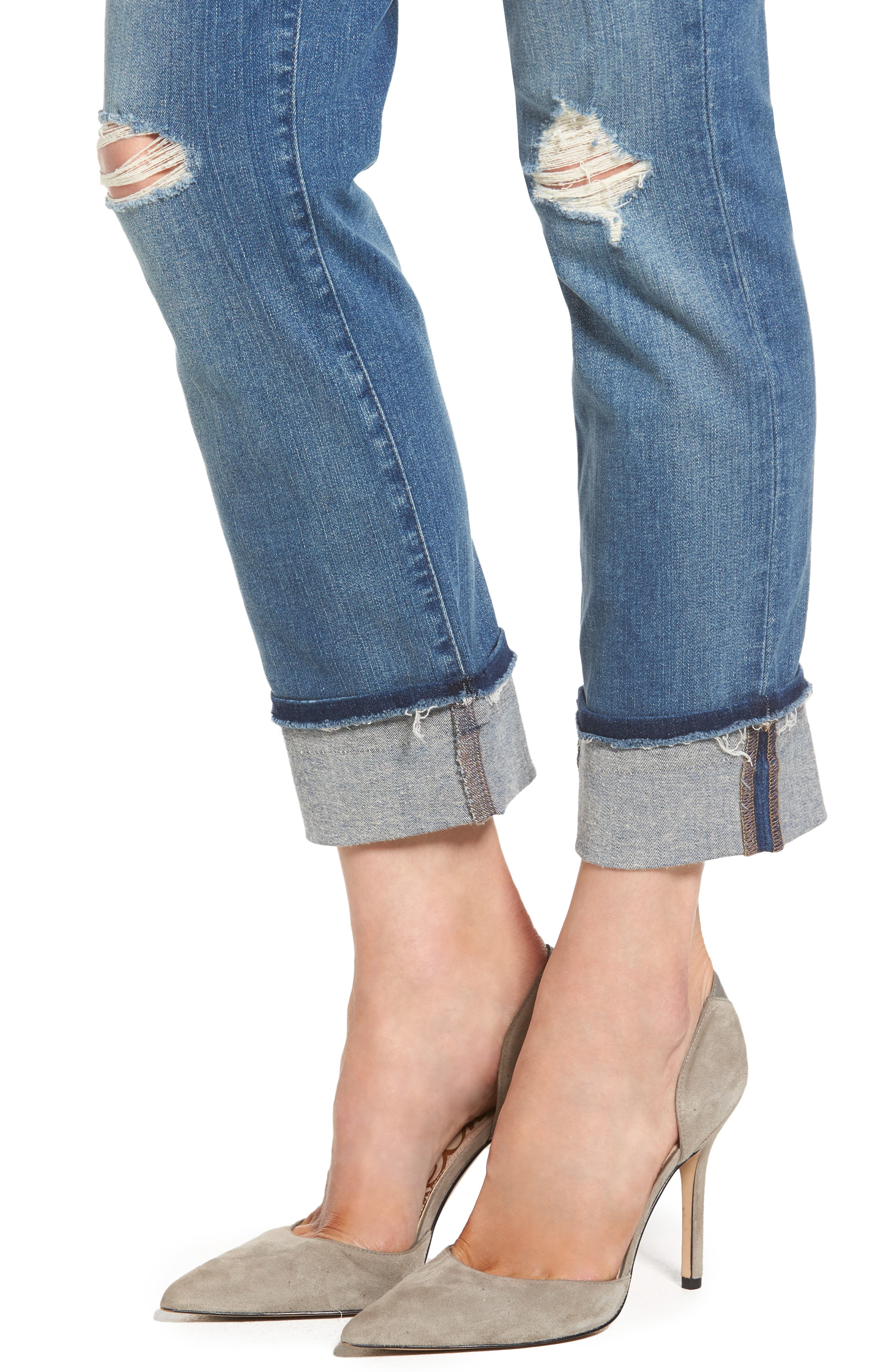 Jessica Distressed Fray Cuff Boyfriend Jeans,                             Alternate thumbnail 4, color,                             471