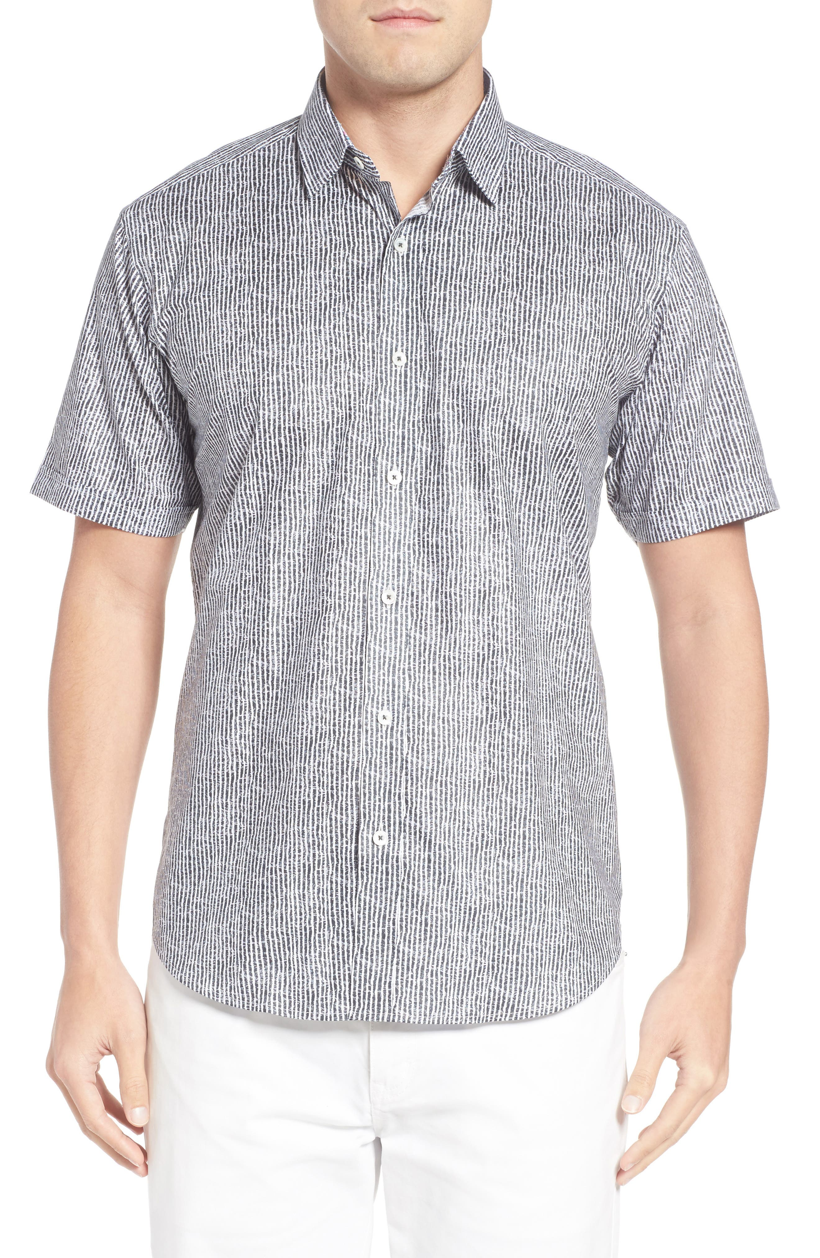 Shaped Fit Stripe Sport Shirt,                             Main thumbnail 3, color,