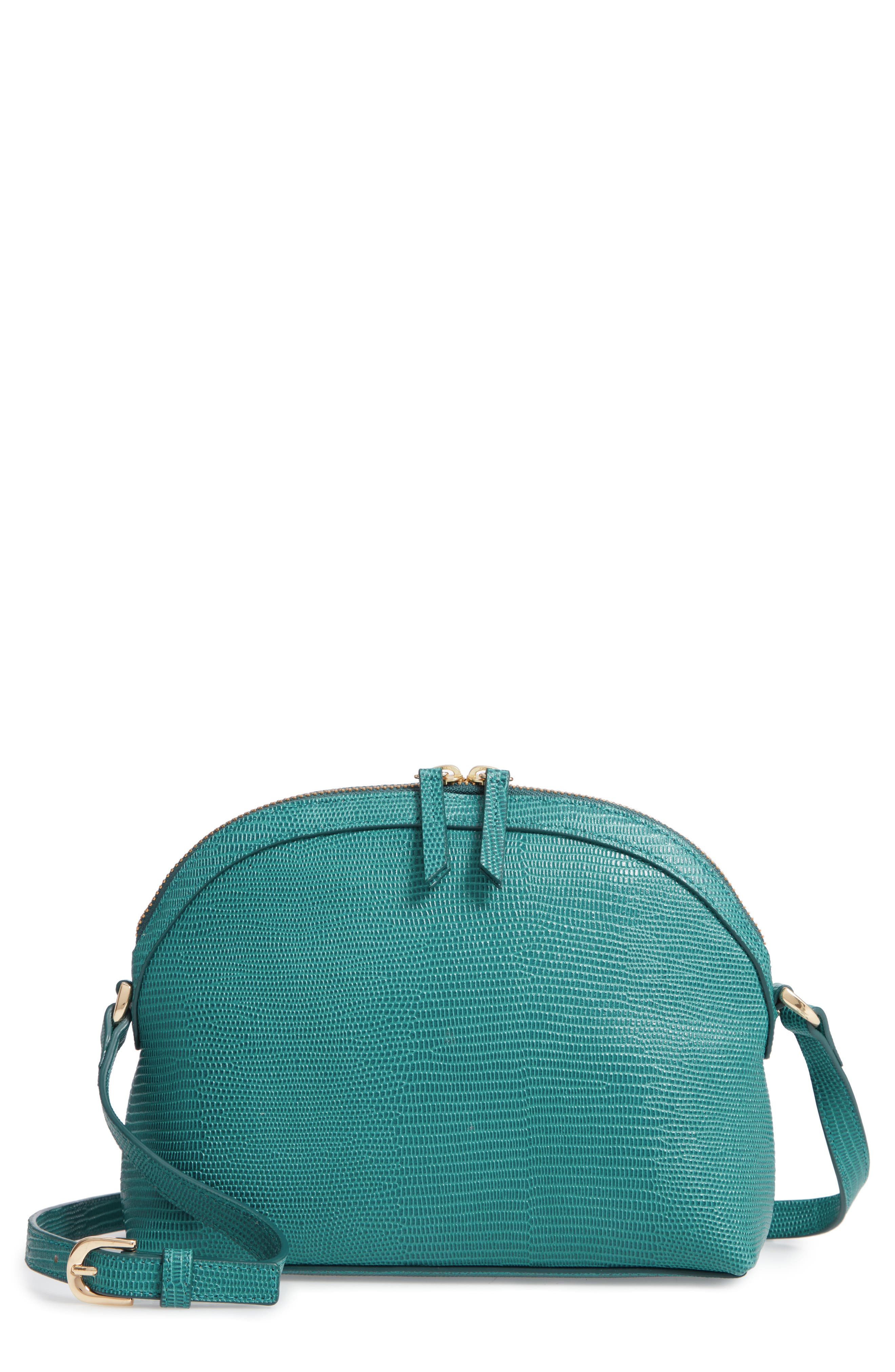 Isobel Half Moon Leather Crossbody Bag,                             Main thumbnail 1, color,                             TEAL HARBOR