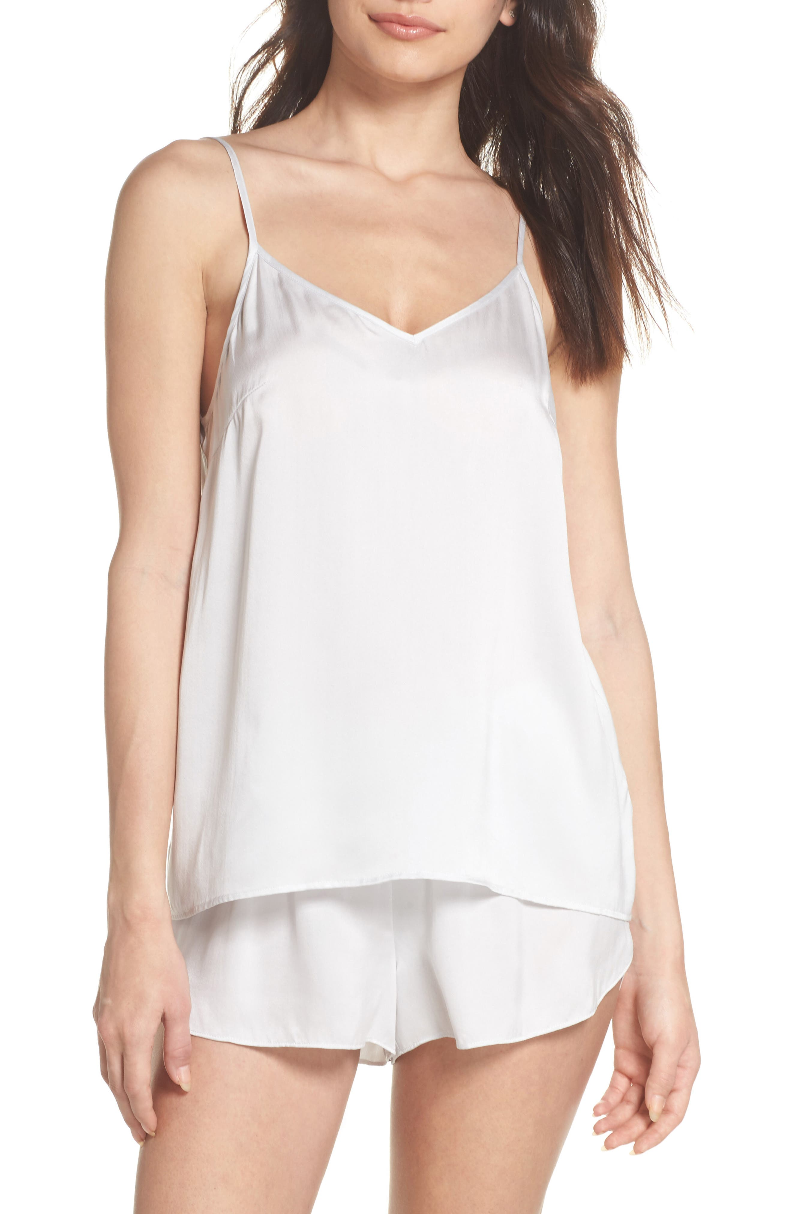 Short Silk Pajamas,                         Main,                         color, ICE GREY