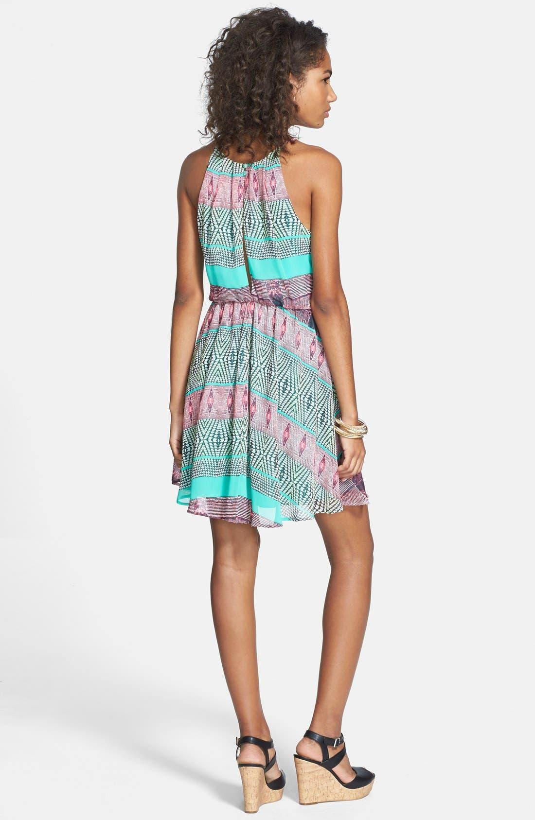 Blouson Chiffon Skater Dress,                             Alternate thumbnail 101, color,