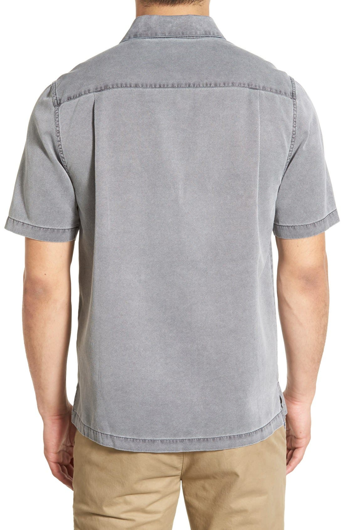 'Havana Cloth' Regular Fit Short Sleeve Silk & Cotton Sport Shirt,                             Alternate thumbnail 2, color,                             BLACK