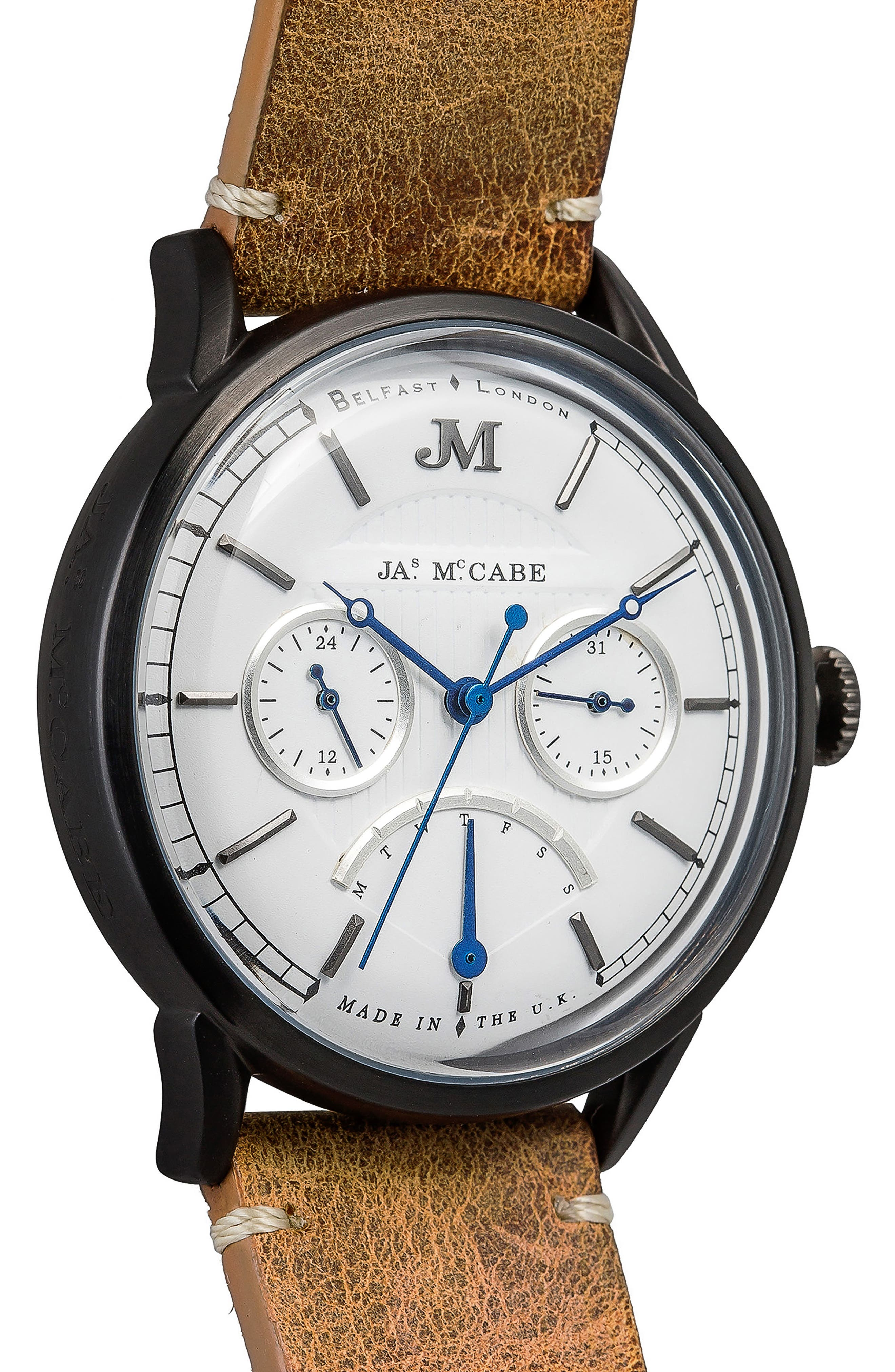 Heritage Retrograde II Leather Strap Watch, 35mm,                             Alternate thumbnail 3, color,                             200