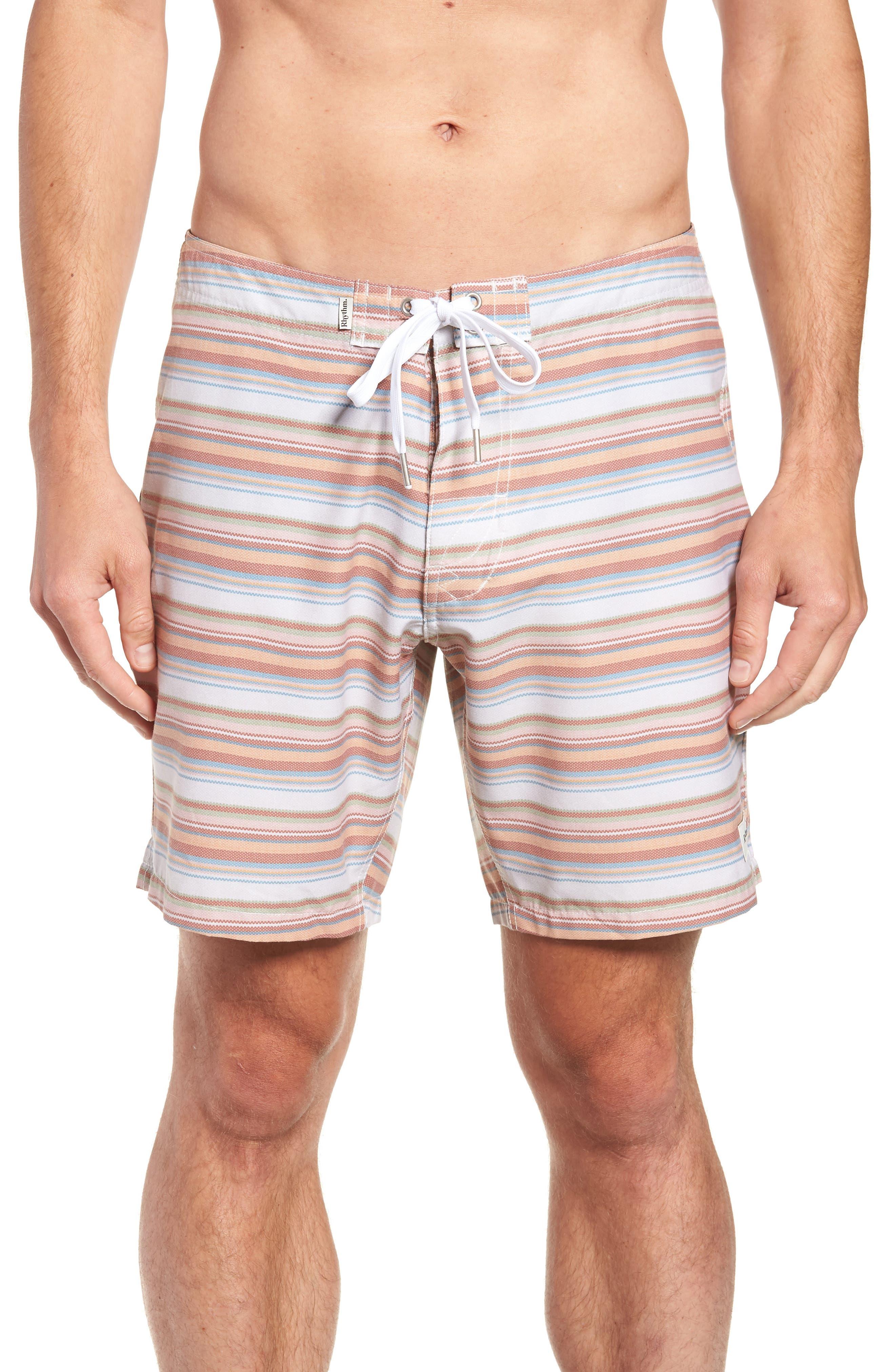 Tuscan Stripe Swim Trunks,                         Main,                         color, TERRACOTTA