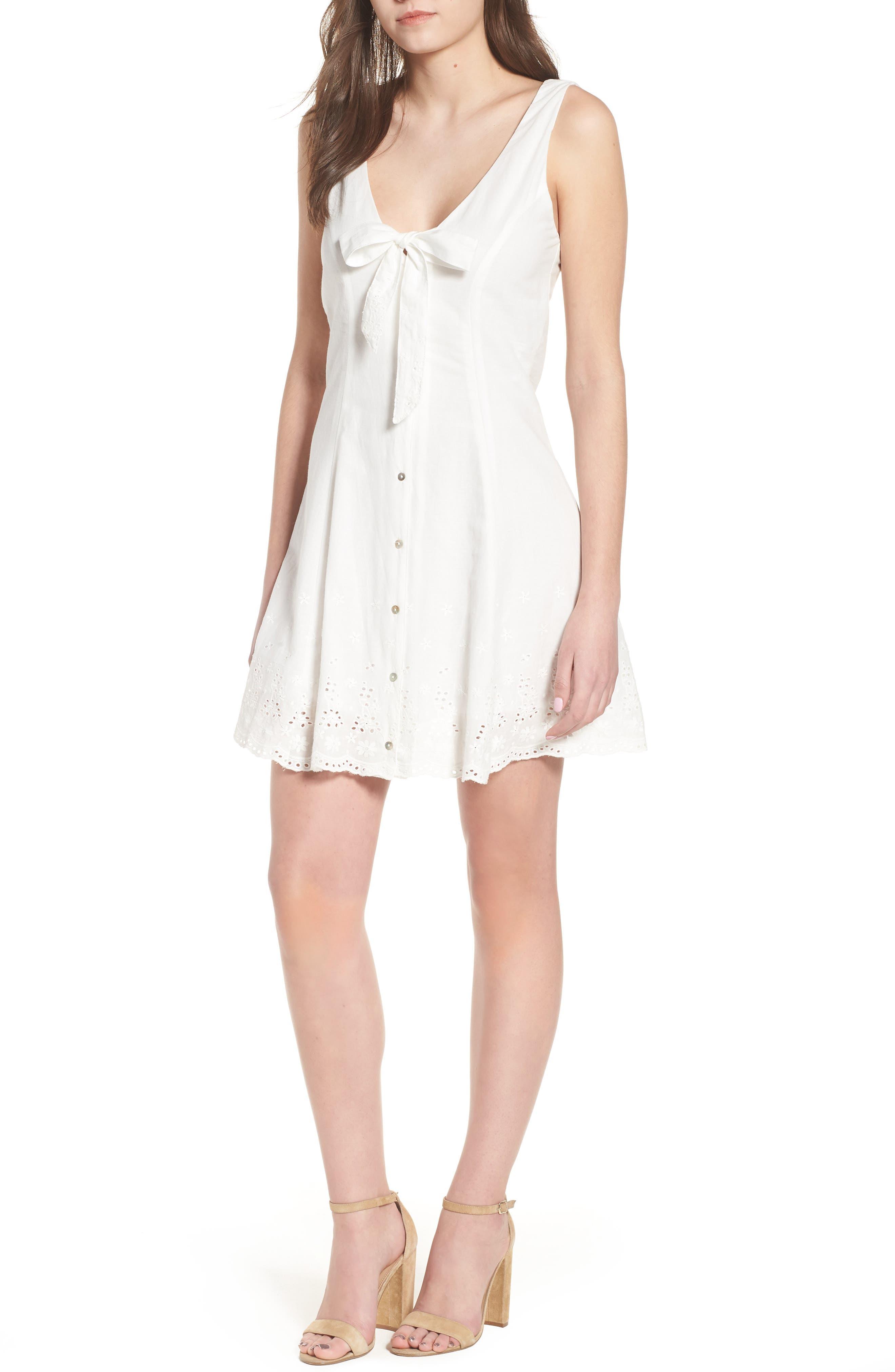 Bianco Eyelet Hem Dress,                             Main thumbnail 1, color,                             100