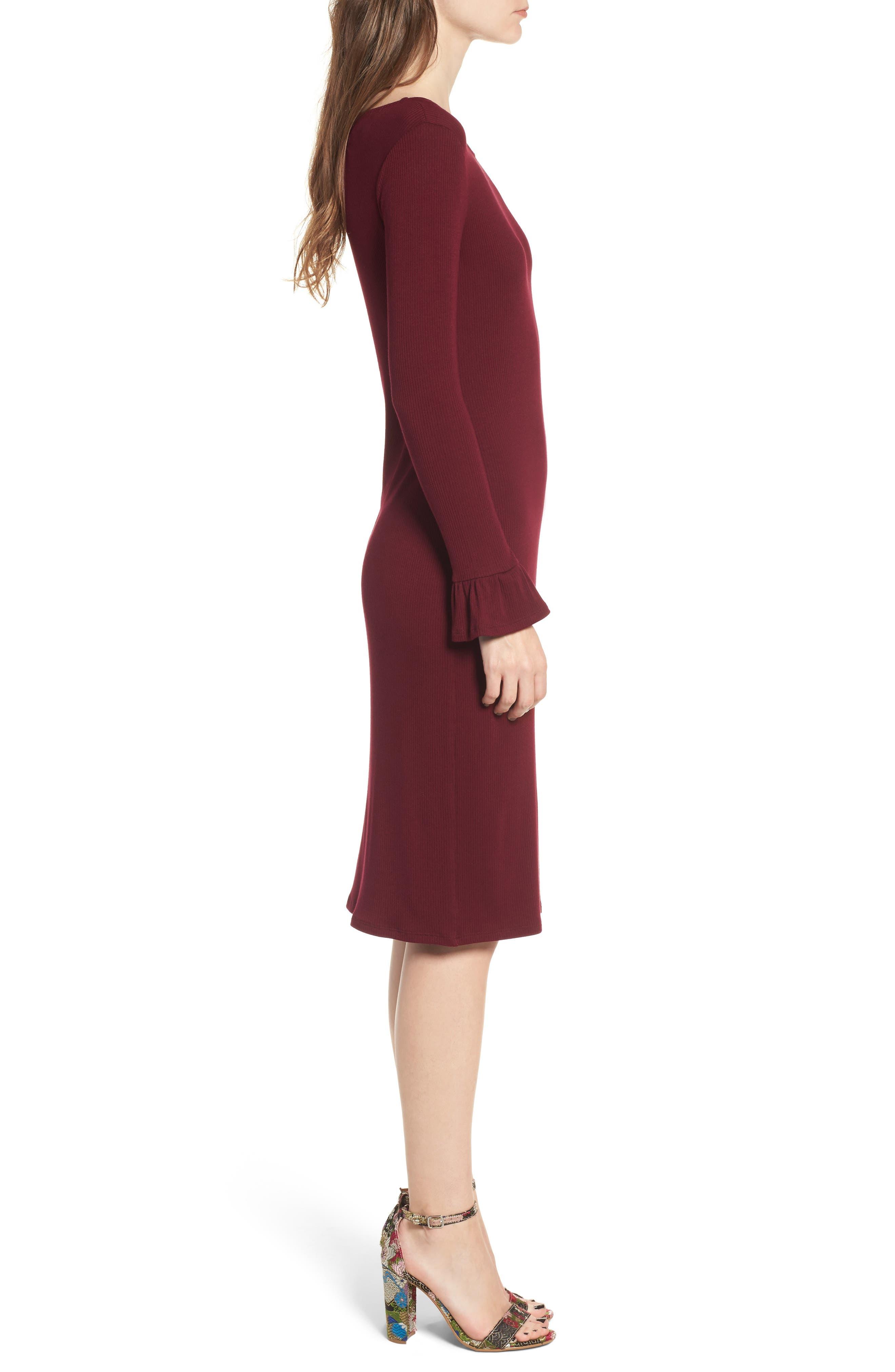 Ruffle Sleeve Ribbed Midi Dress,                             Alternate thumbnail 6, color,