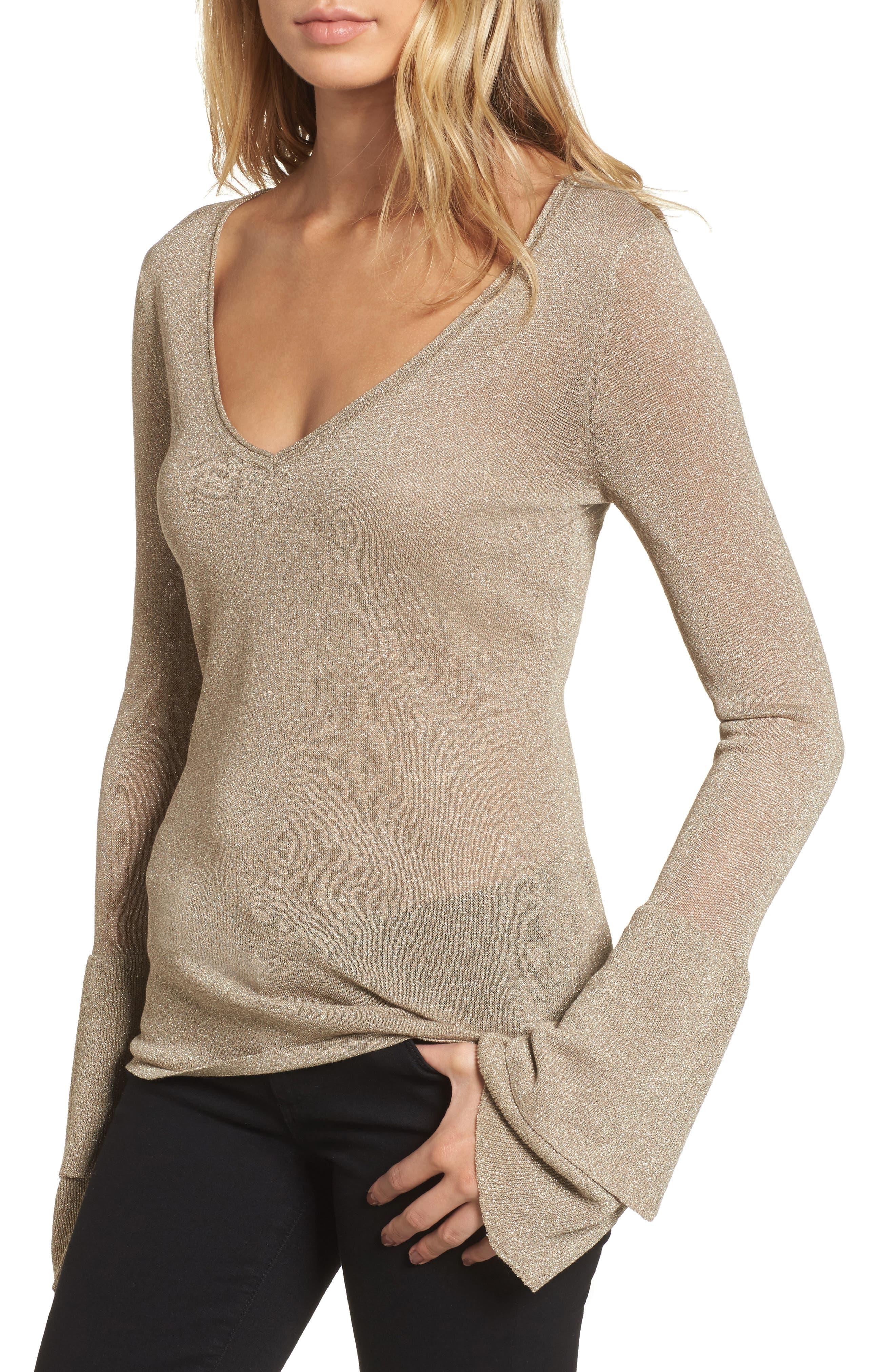 Ruffle Bell Sleeve Sweater,                             Main thumbnail 2, color,