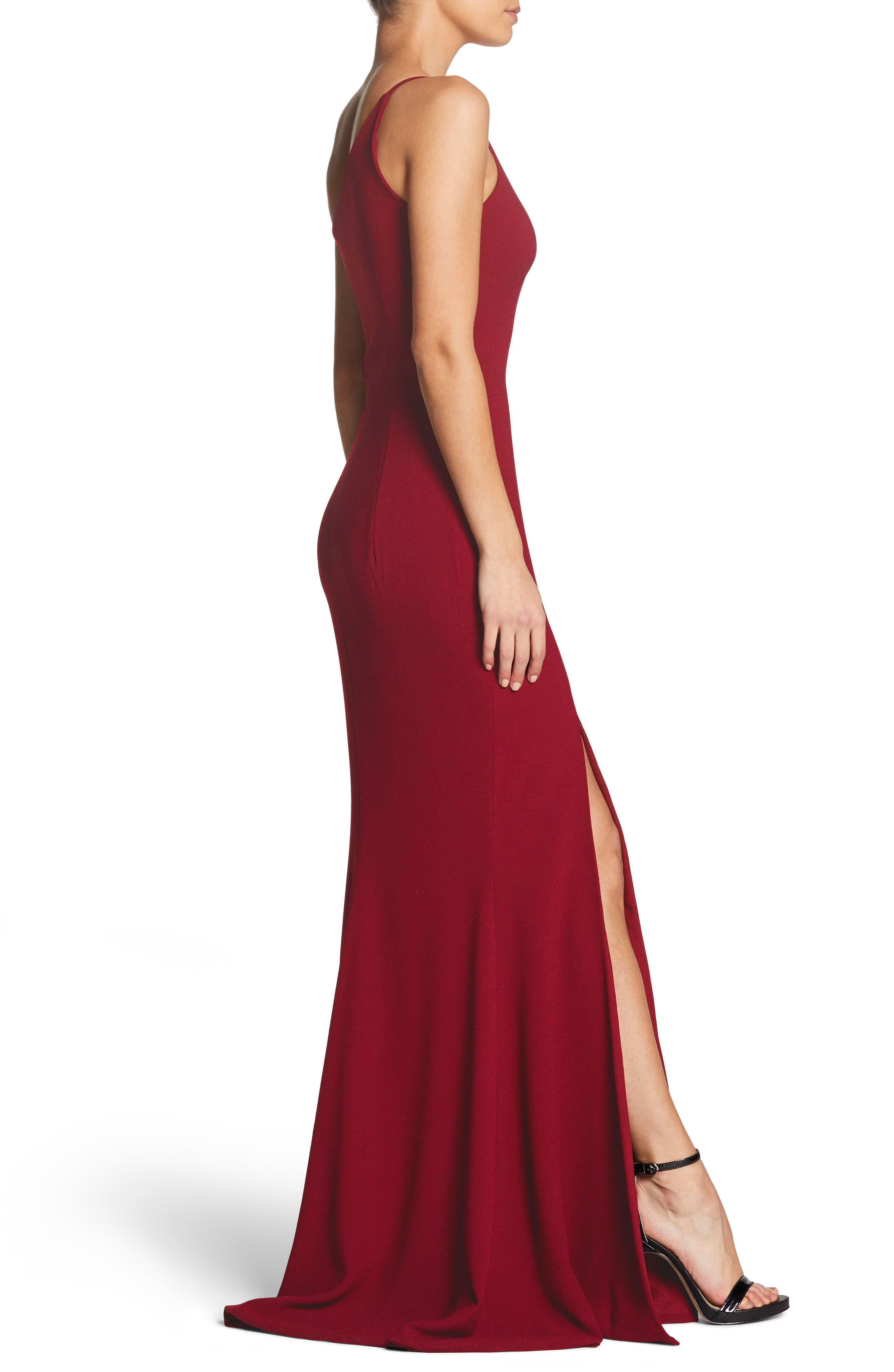 Amy One-Shoulder Crepe Gown,                             Alternate thumbnail 3, color,                             GARNET