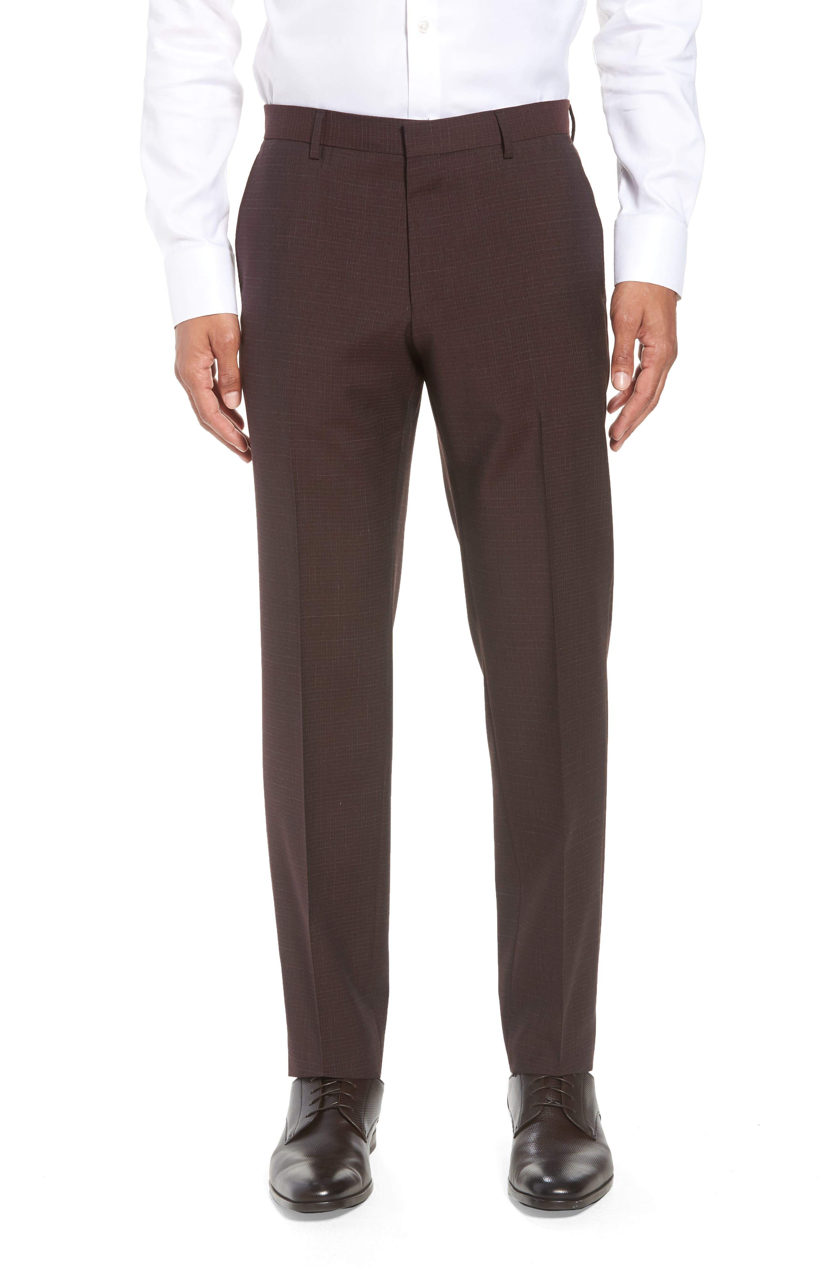 Genesis Flat Front Check Wool Trousers,                         Main,                         color, MAROON