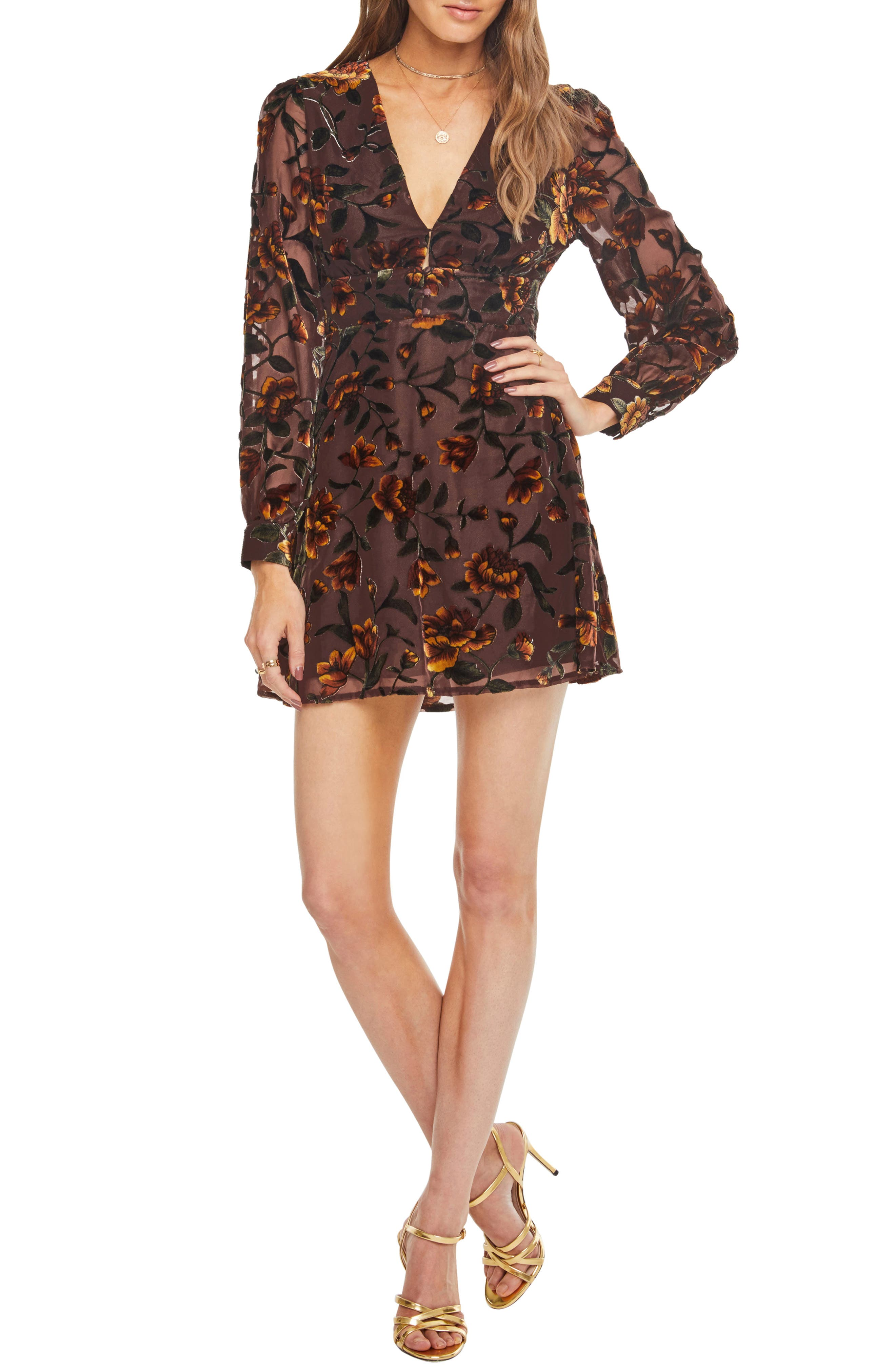 Astr The Label Vivian Floral Burnout Dress, Brown