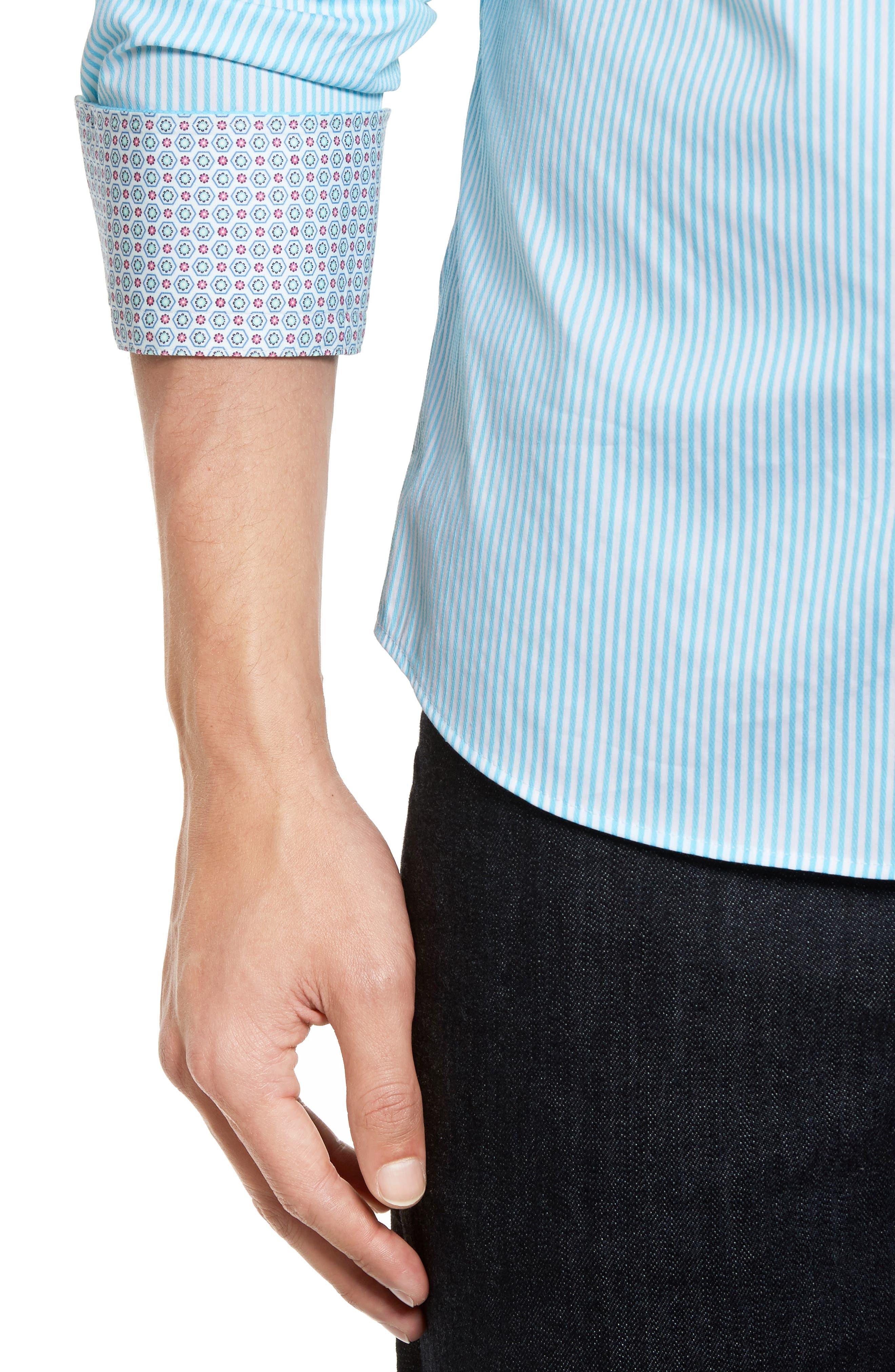 Technical Stripe Sport Shirt,                             Alternate thumbnail 11, color,