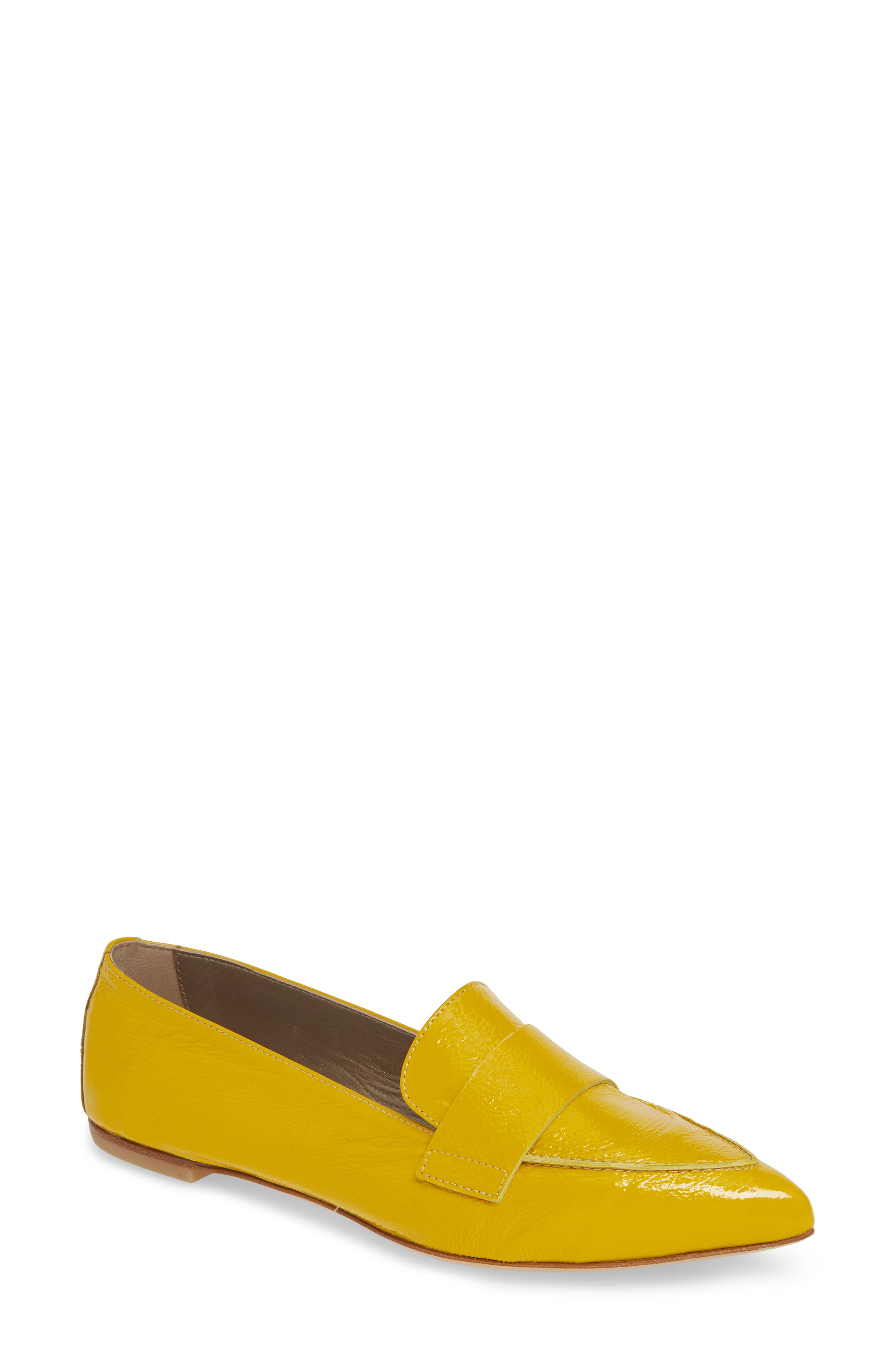 Agl Softy Pointy Toe Moccasin Loafer, Yellow