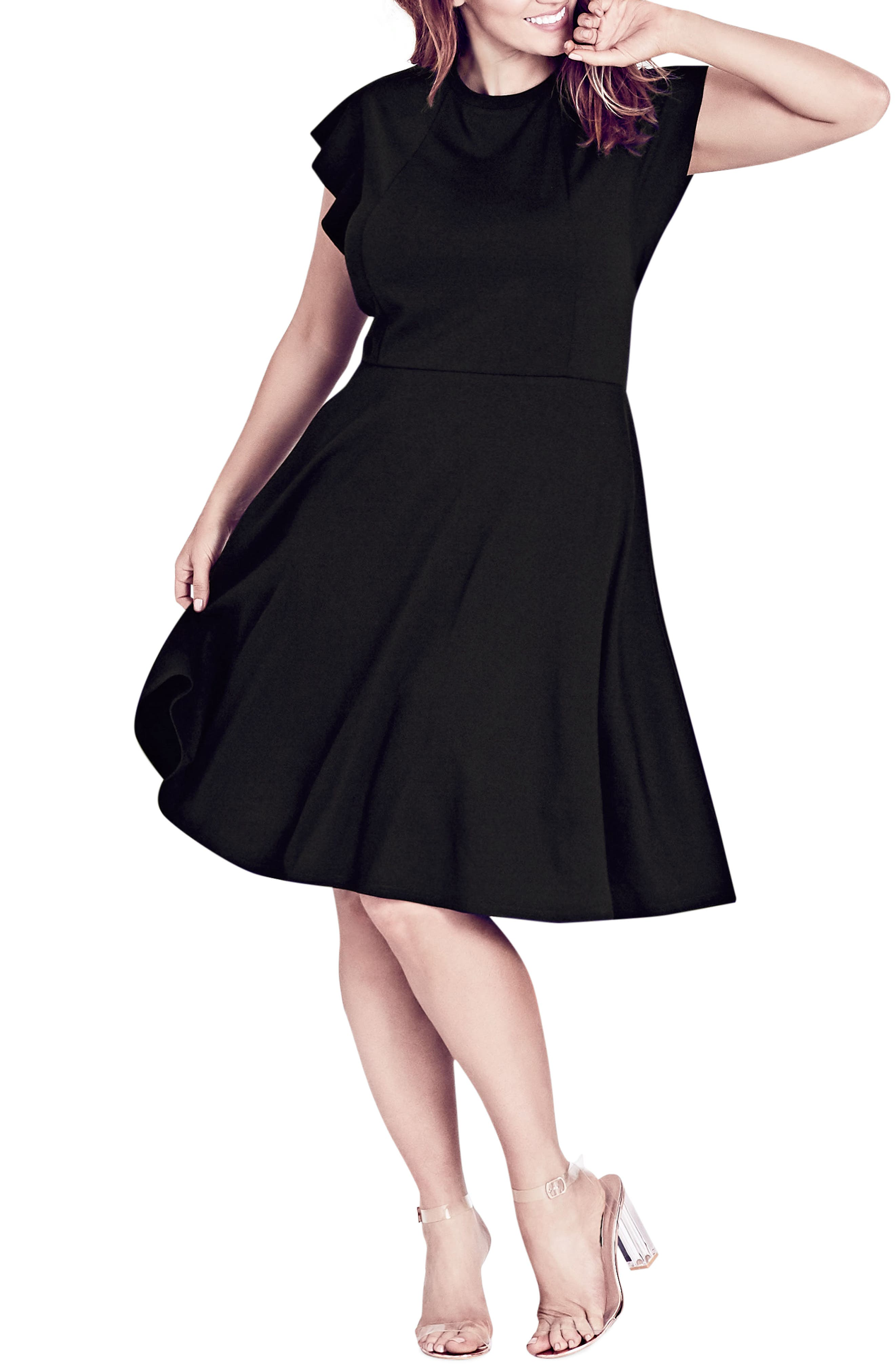 CITY CHIC,                             Frill Sleeve Fit & Flare Dress,                             Main thumbnail 1, color,                             BLACK